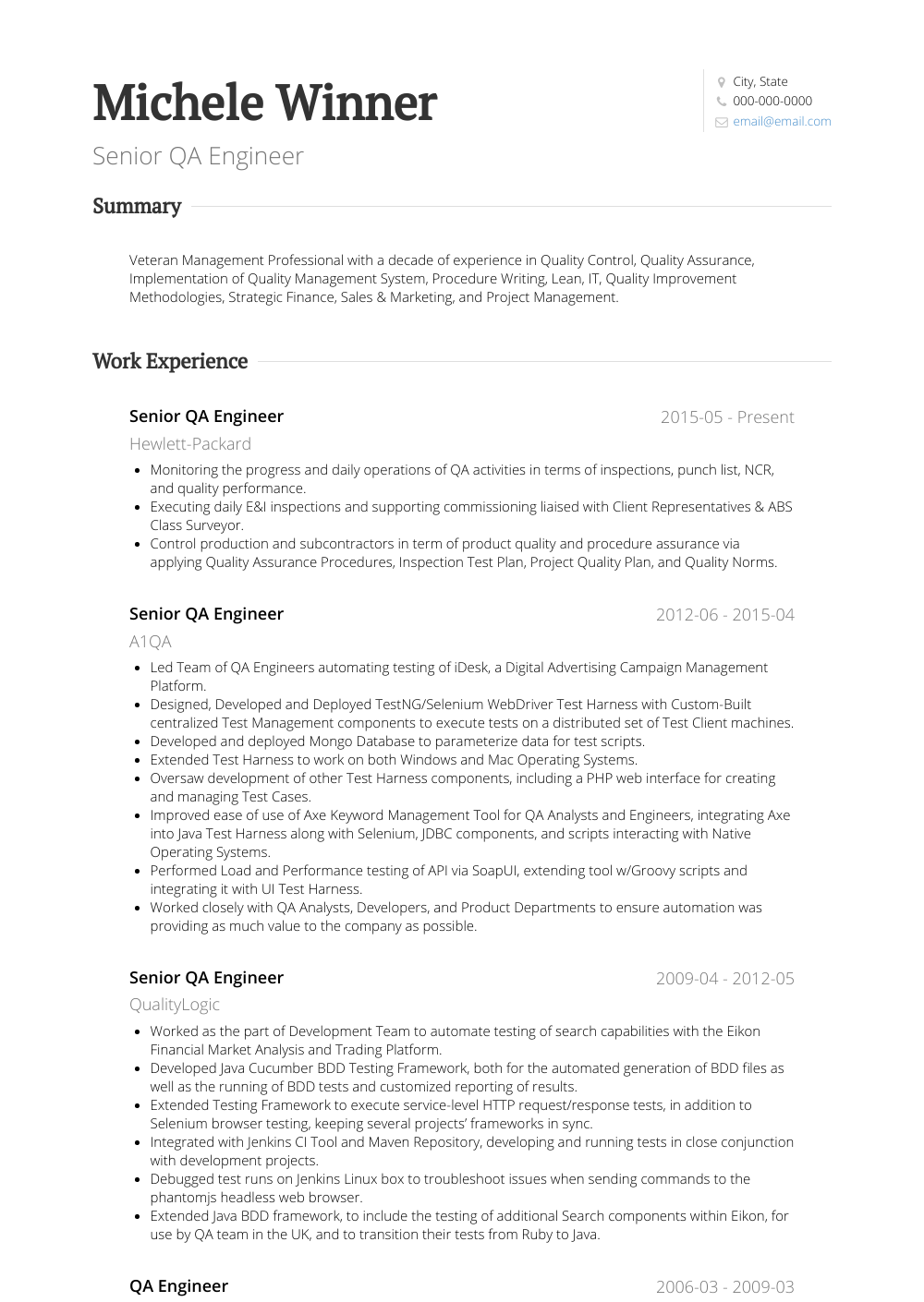 Quality Engineer - Resume Samples & Templates | VisualCV