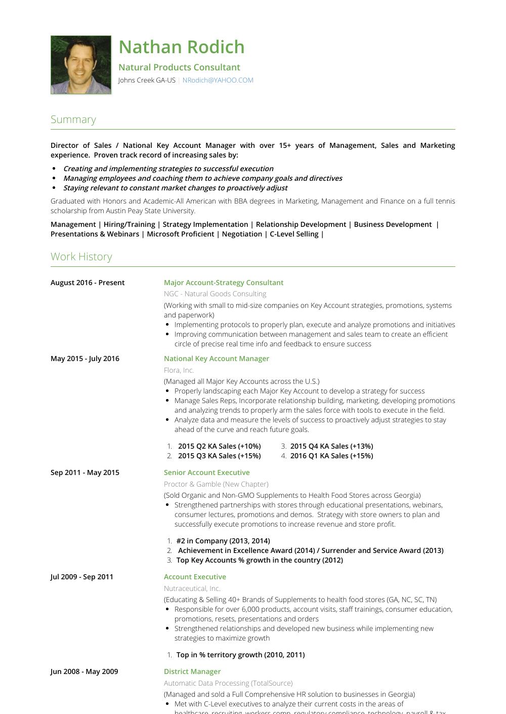 Senior Resume Sample