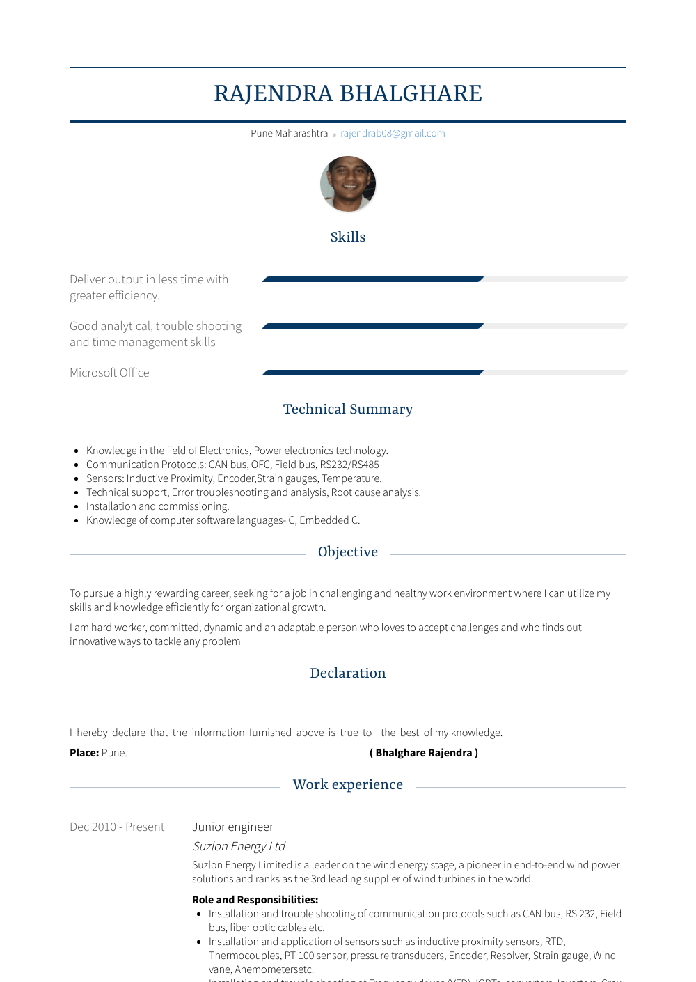 Junior Engineer Resume Sample and Template