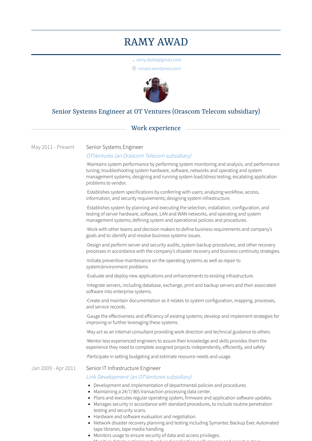 Senior Systems Engineer Resume Samples Templates Visualcv