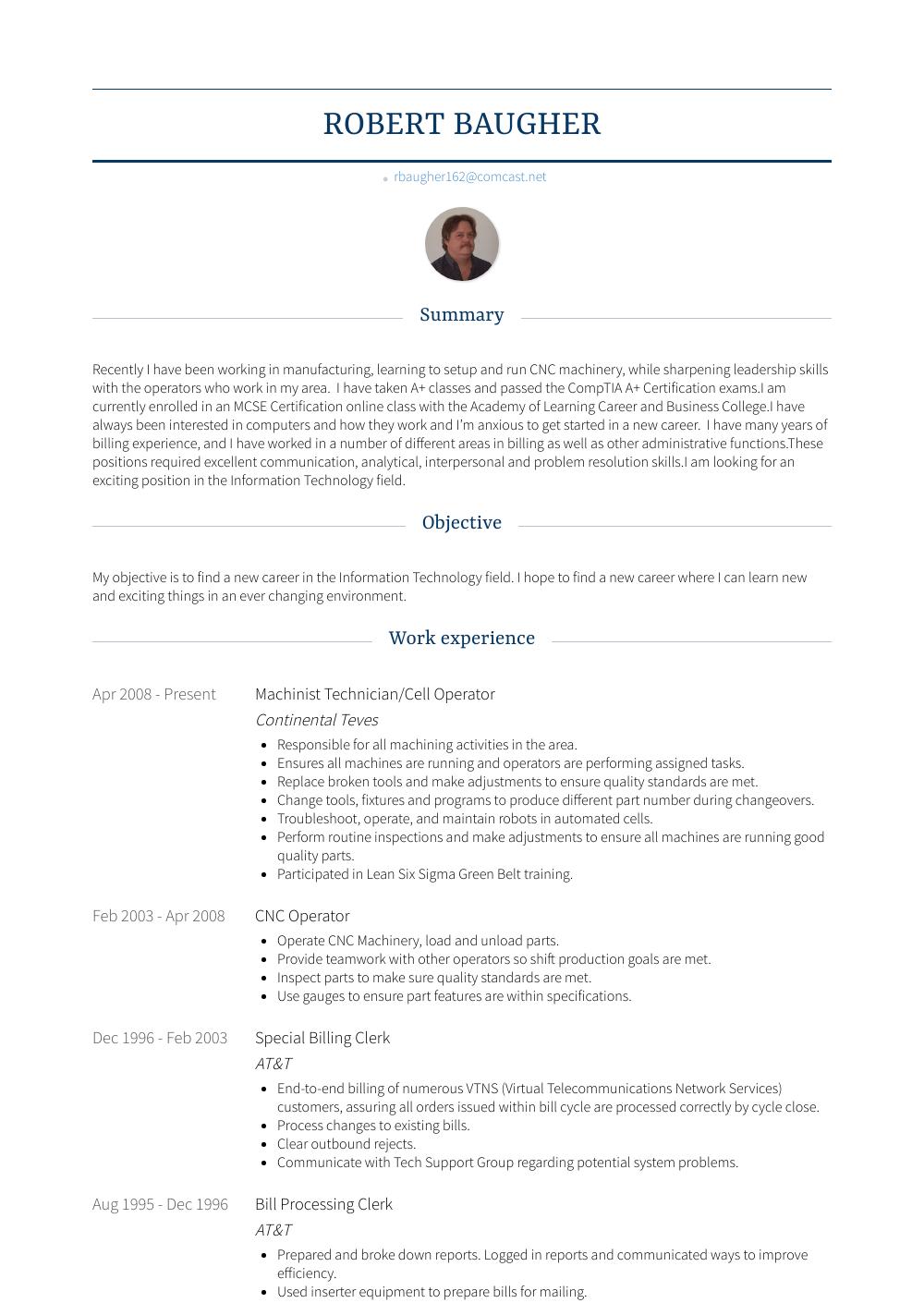 Machinist Resume Sample
