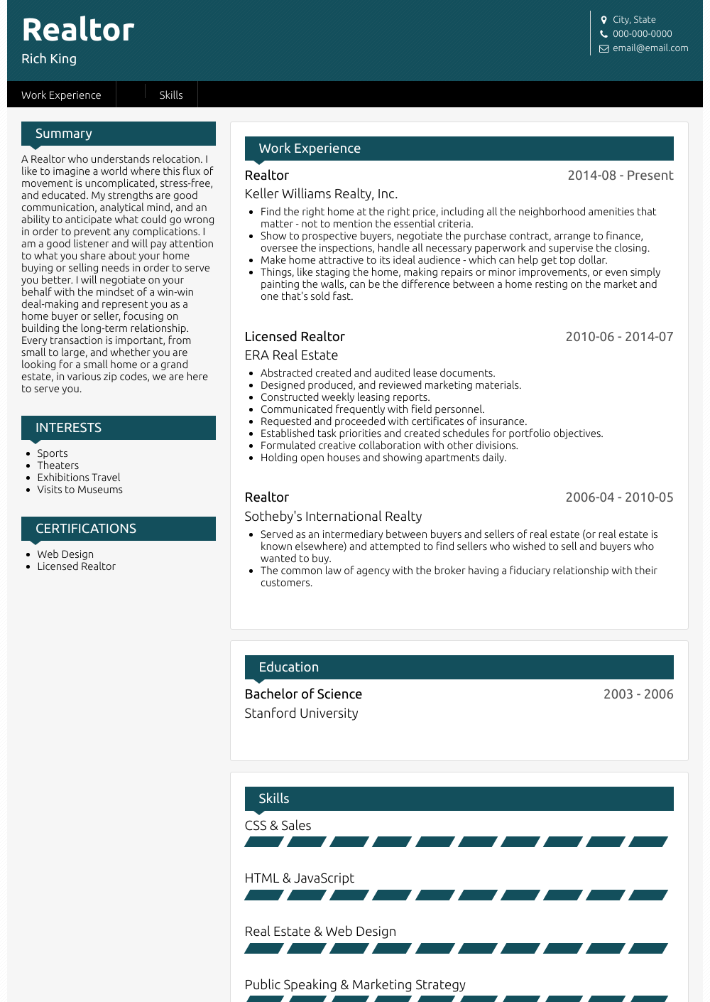 Realtor  Resume Samples and Templates   VisualCV