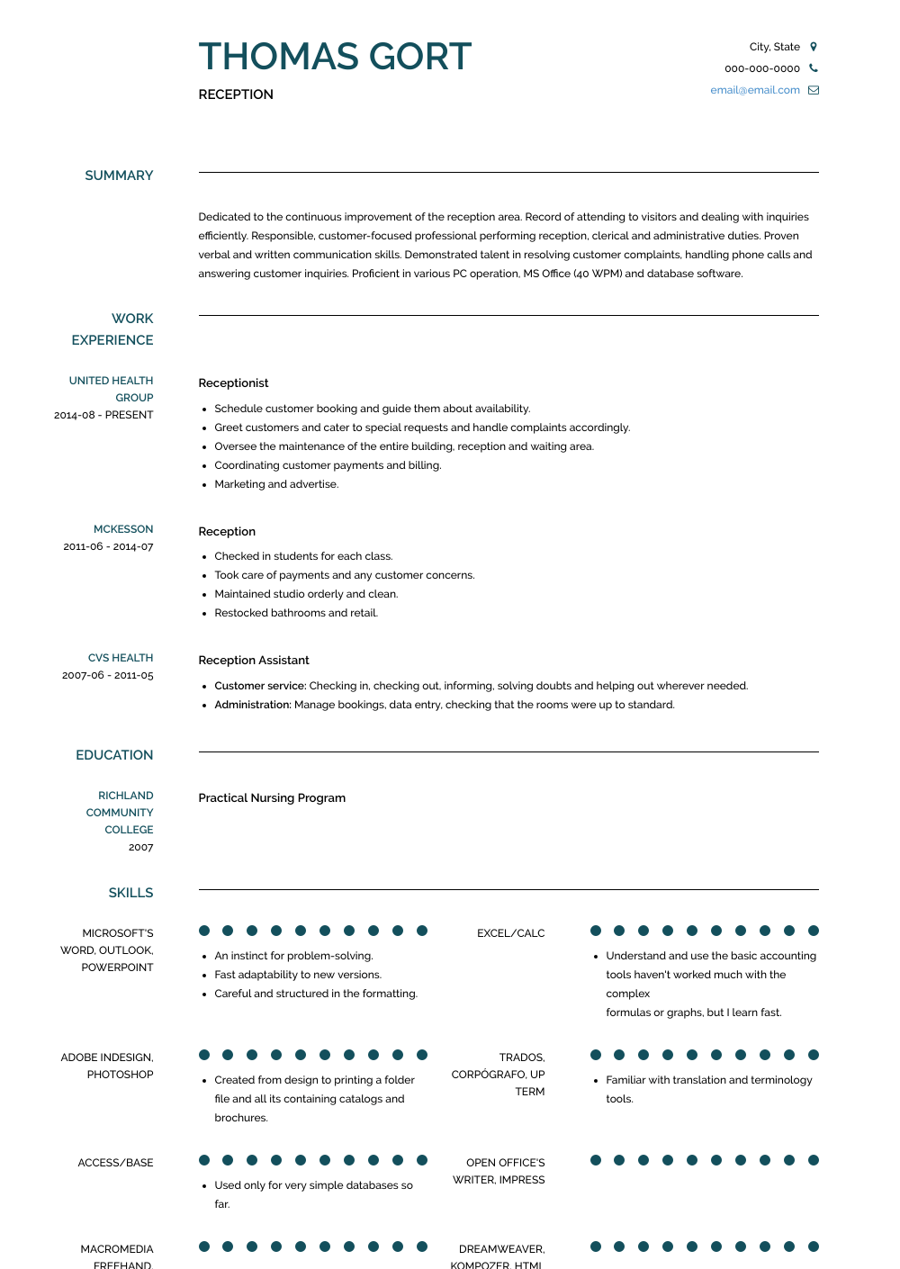 Reception Resume Sample