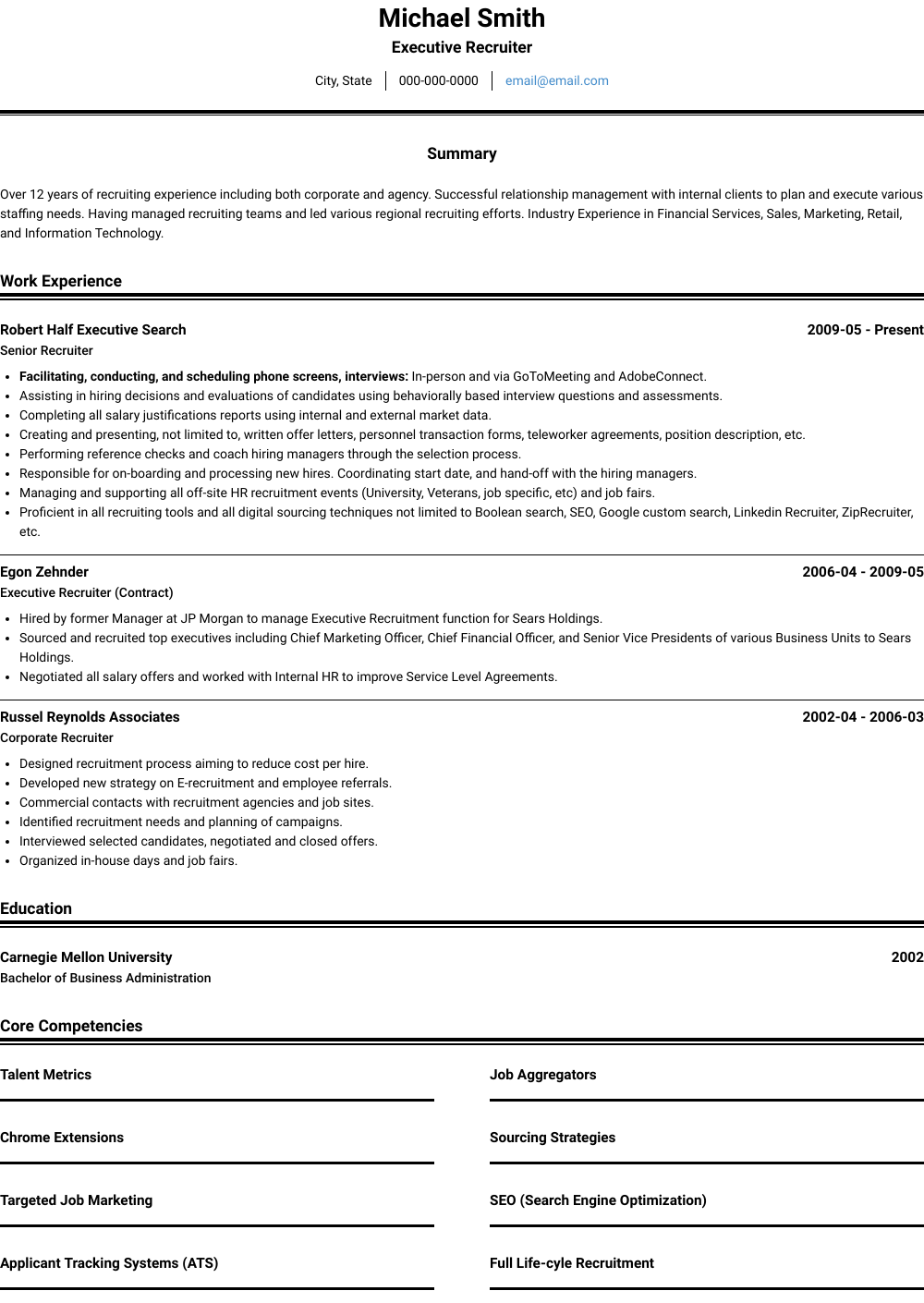 Executive Recruiter Resume Sample and Template