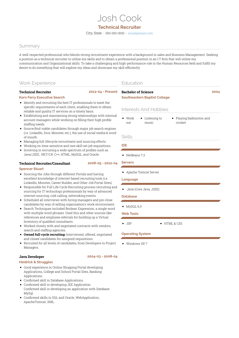 Technical Recruiter Resume Sample