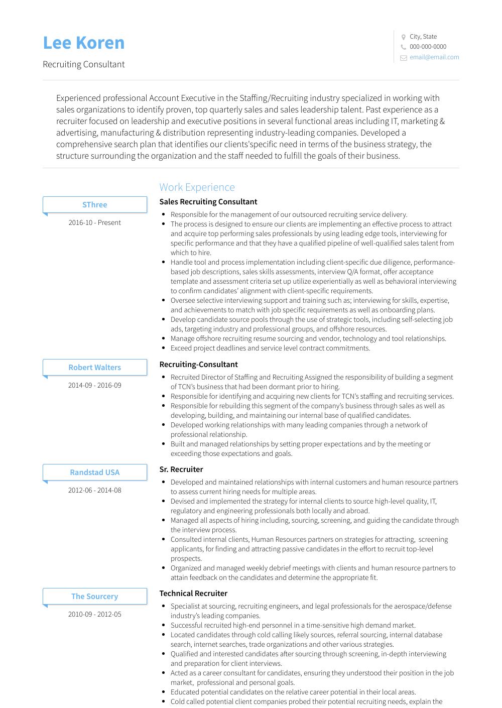 Recruiting Consultant Resume Sample