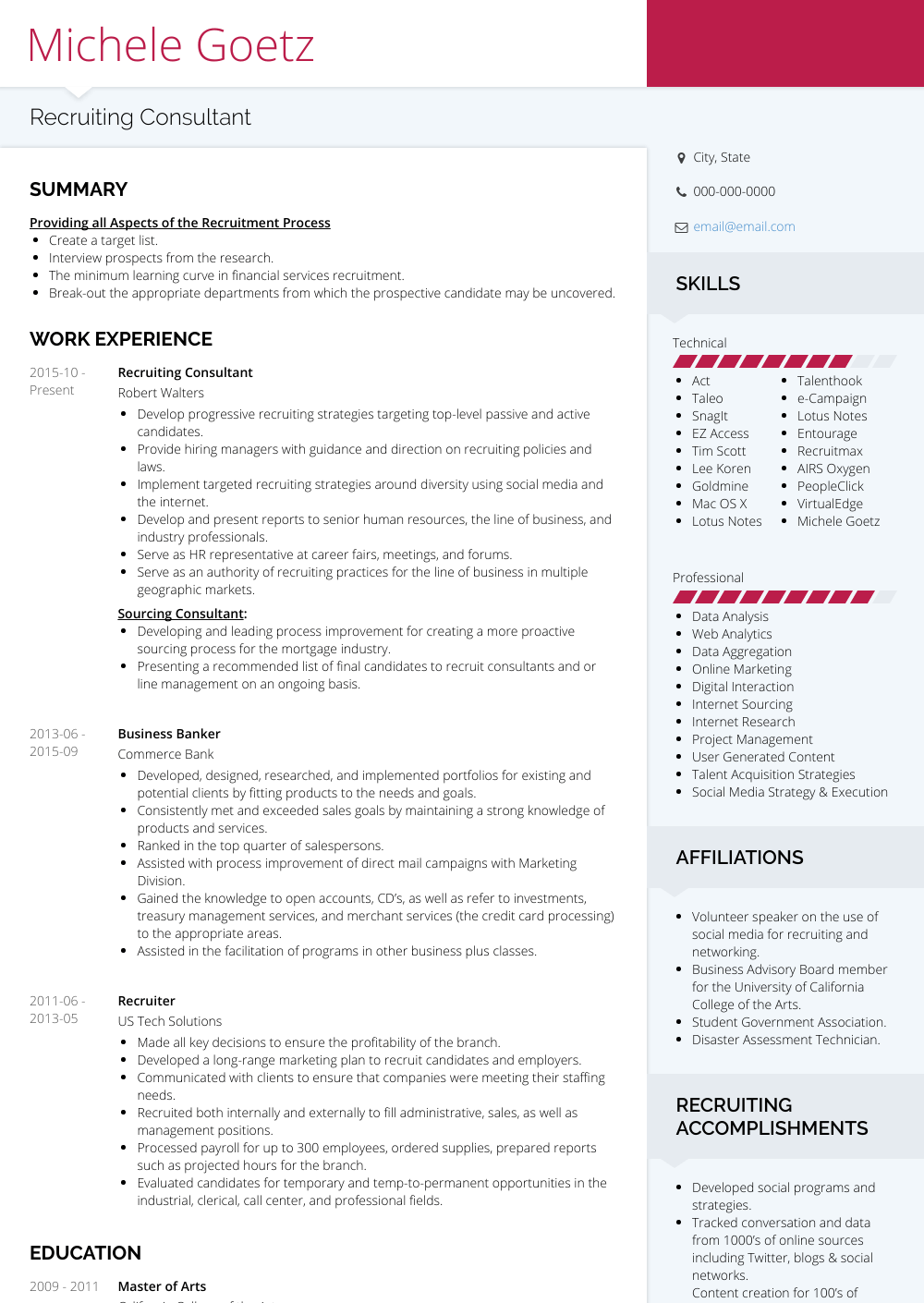 recruiting consultant  resume samples and templates
