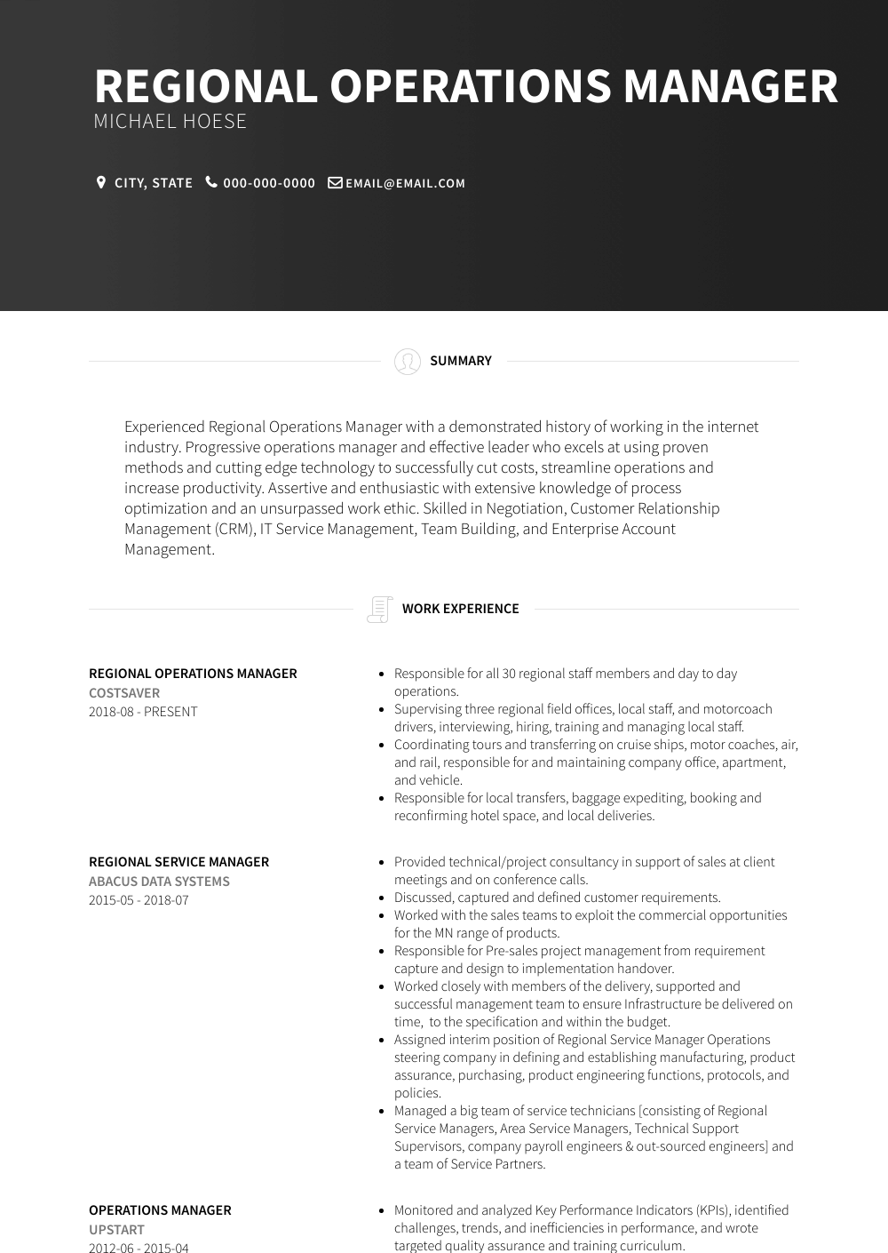 Regional Operations Manager Resume Sample and Template