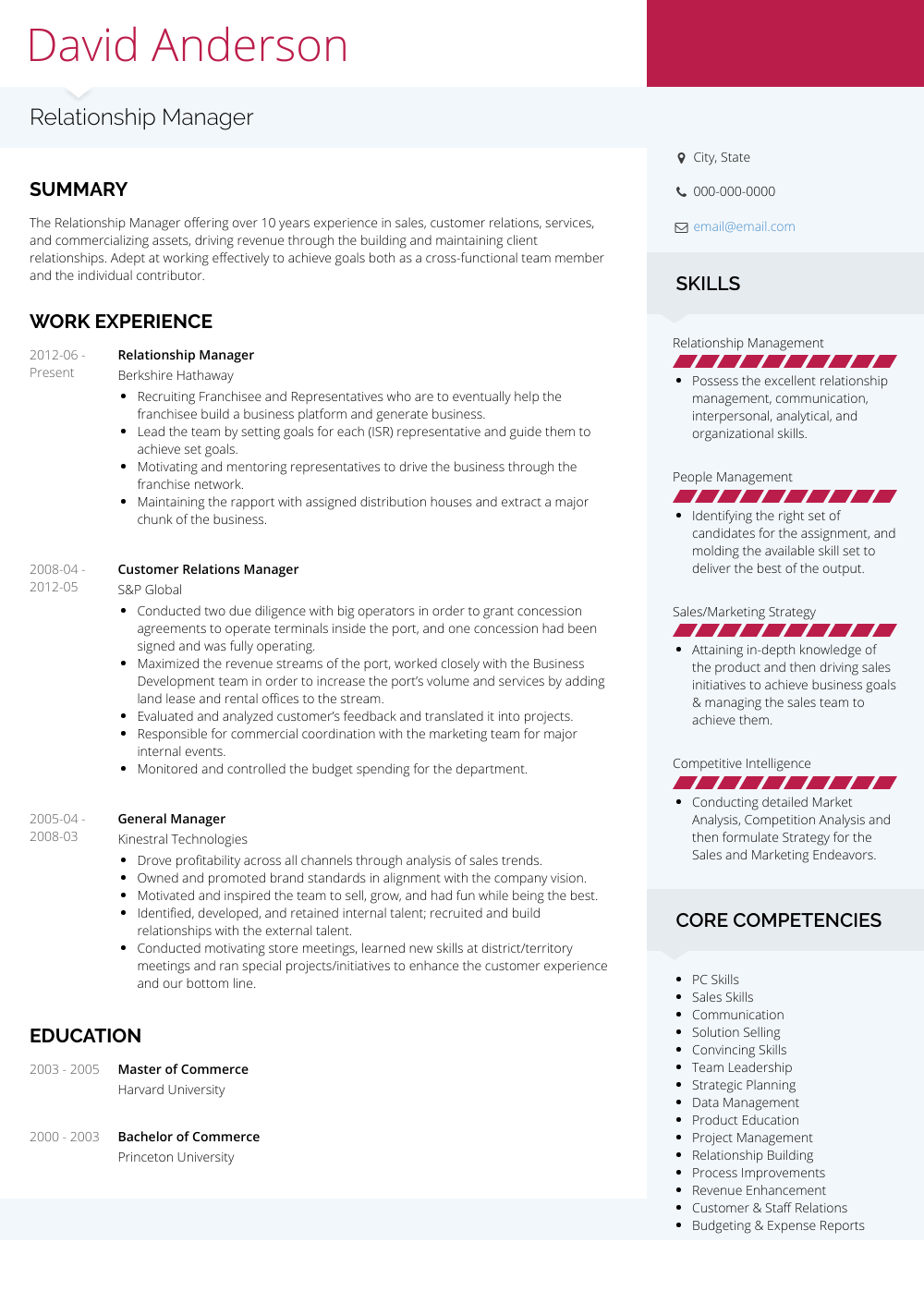 Relationship Manager Resume Sample and Template