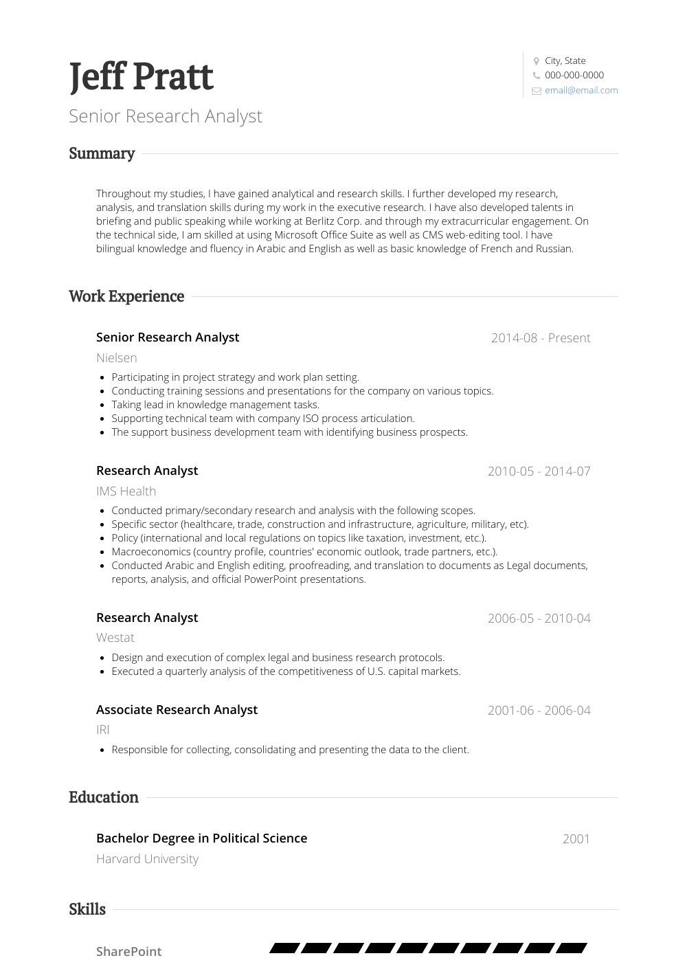 Senior Research Analyst Resume Sample and Template