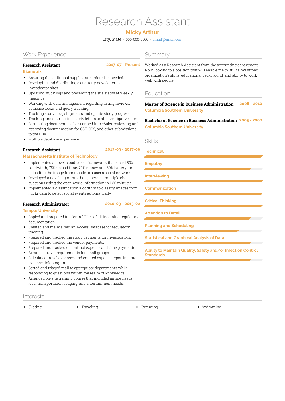 Research Assistant Resume Samples And Templates Visualcv