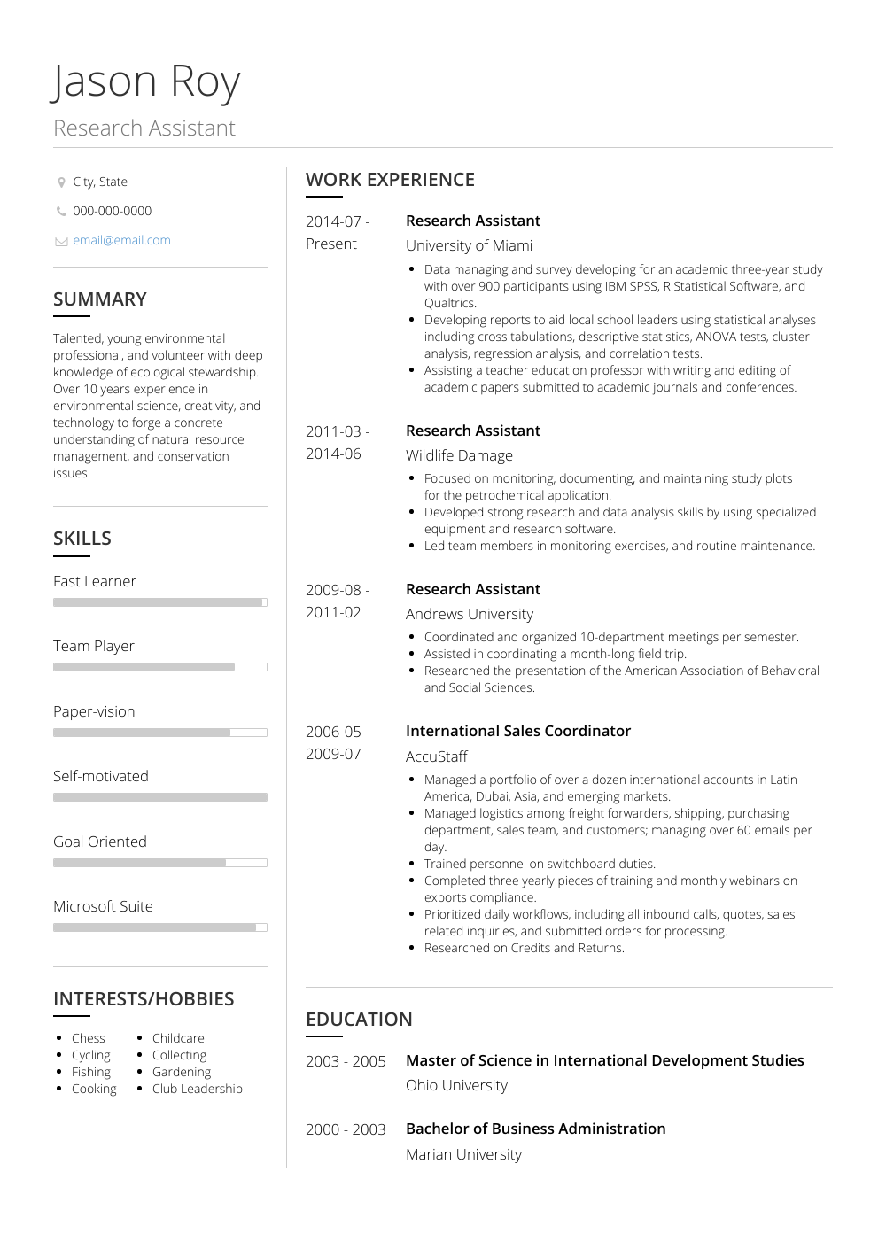 Research Resume Sample