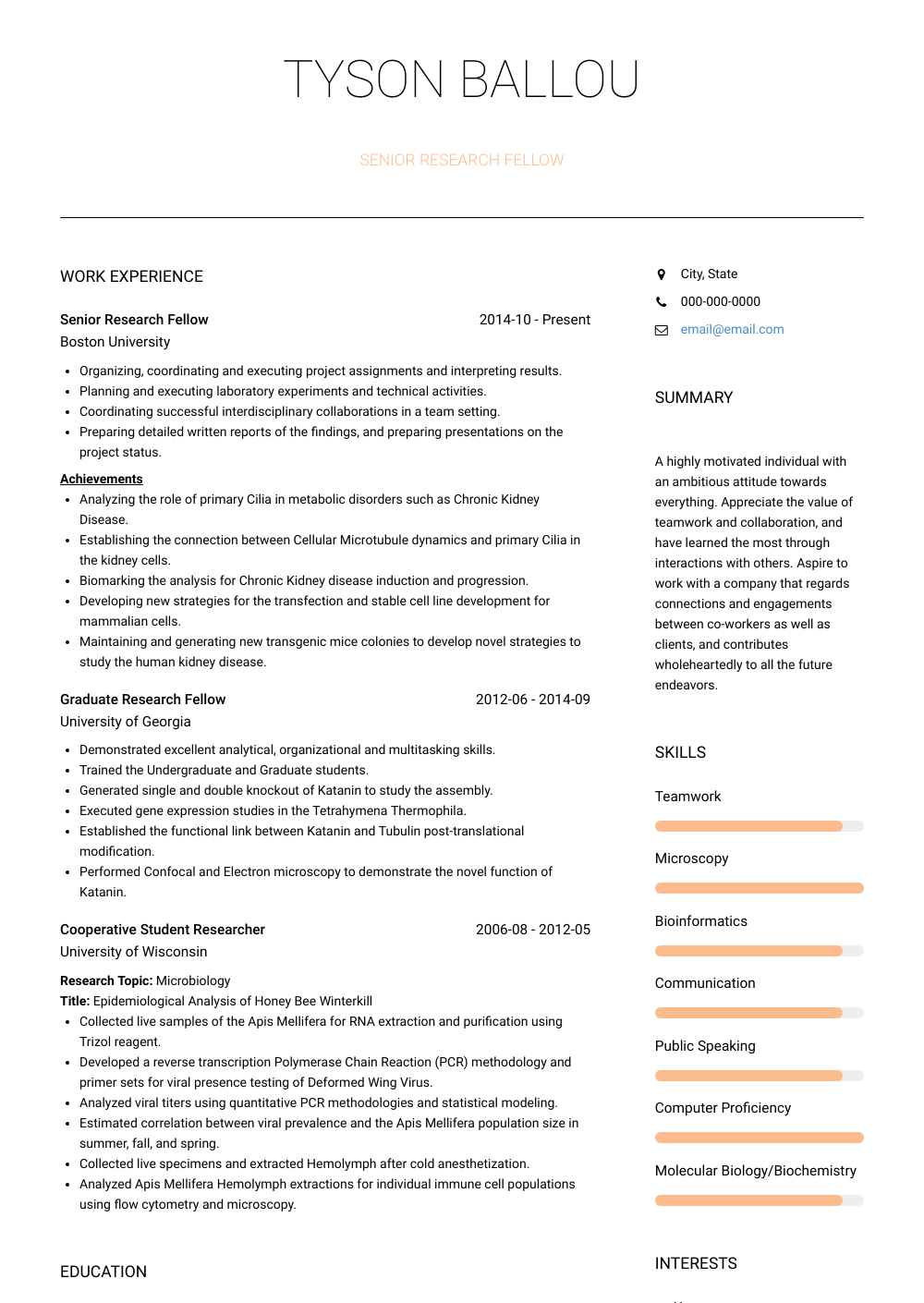 Senior Research Fellows Resume Sample and Template
