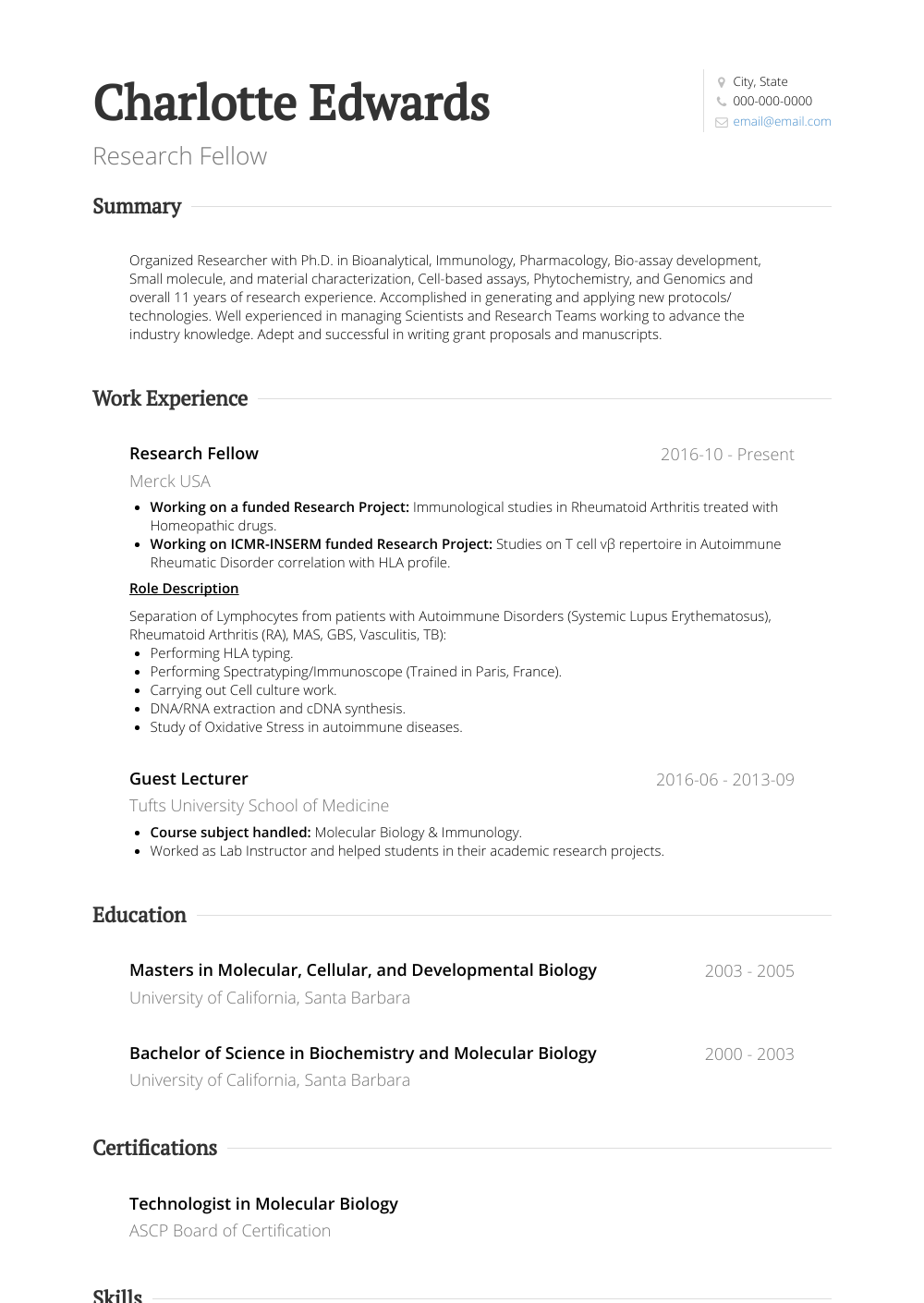 research Fellow Resume Sample and Template