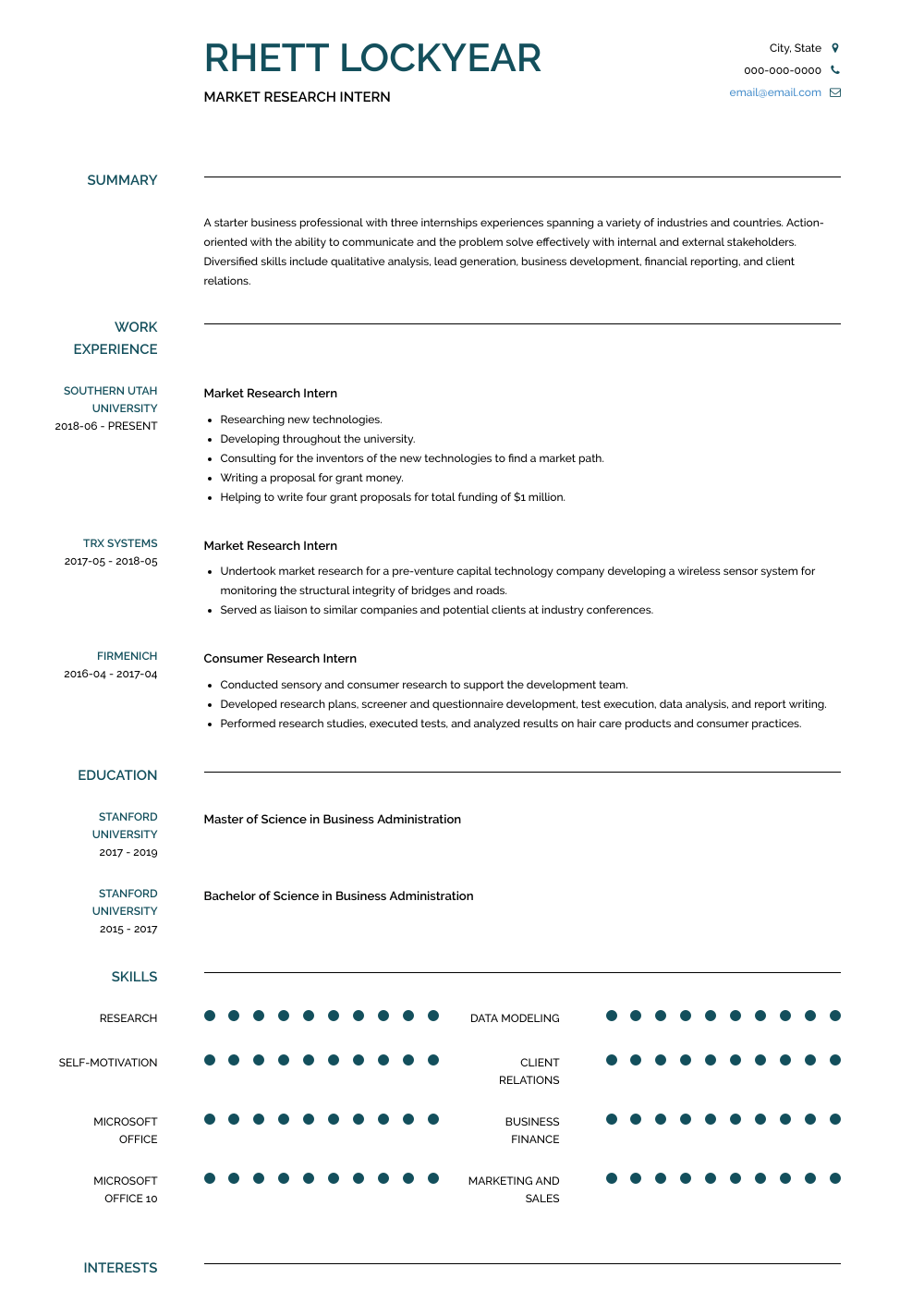 Market Research Intern Resume Sample and Template
