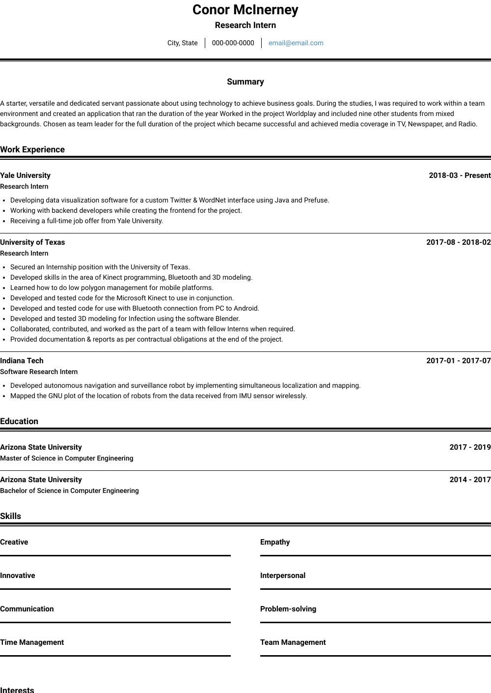 Research Intern Resume Sample and Template