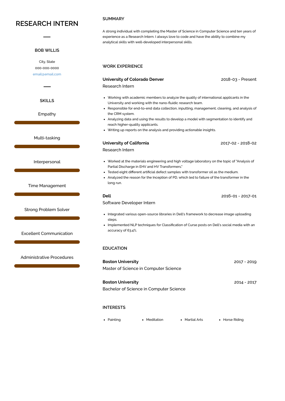 Research Intern - Resume Samples and Templates | VisualCV