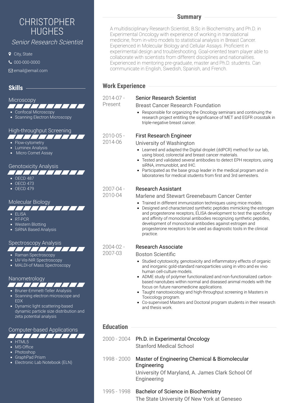 Senior Research Scientist Resume Sample and Template