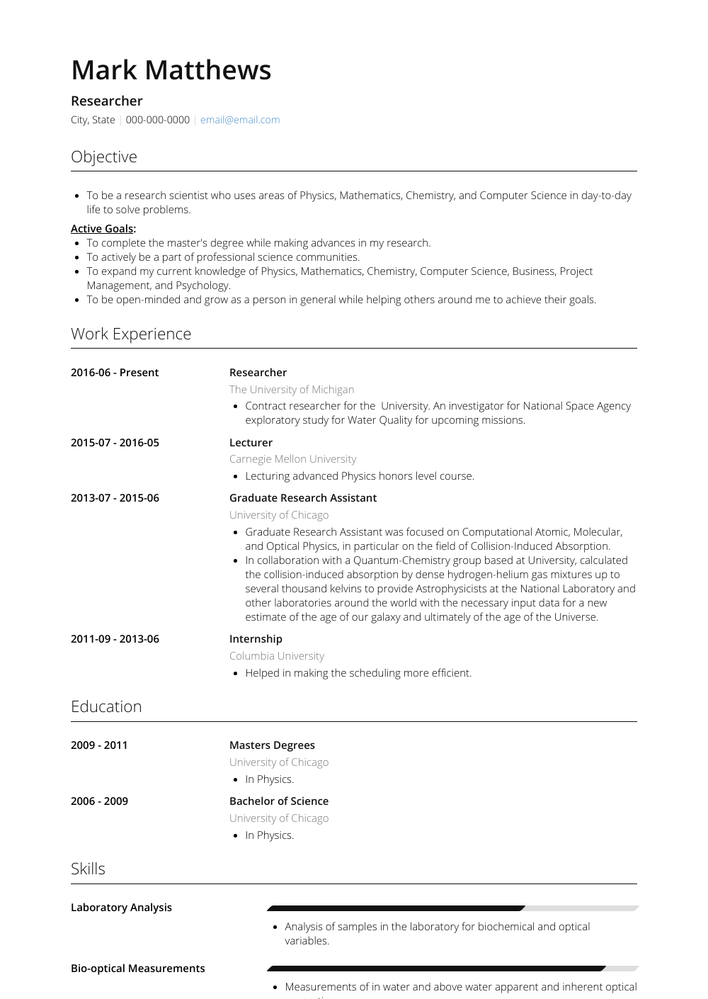 Researcher Resume Sample and Template