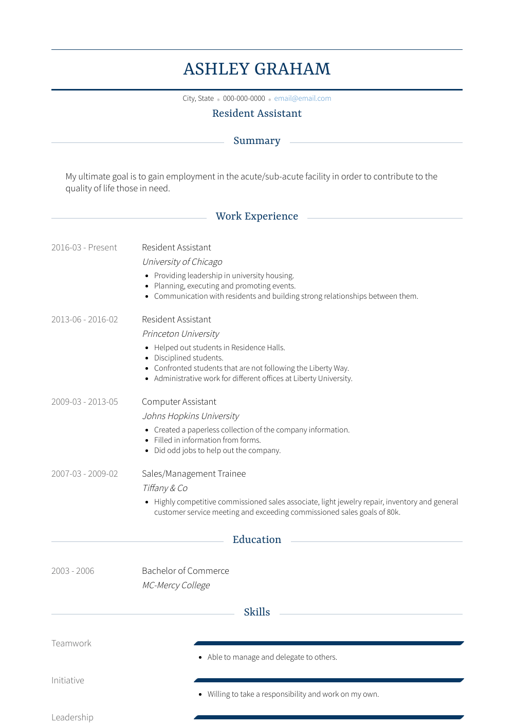 Residential Assistant Resume Sample