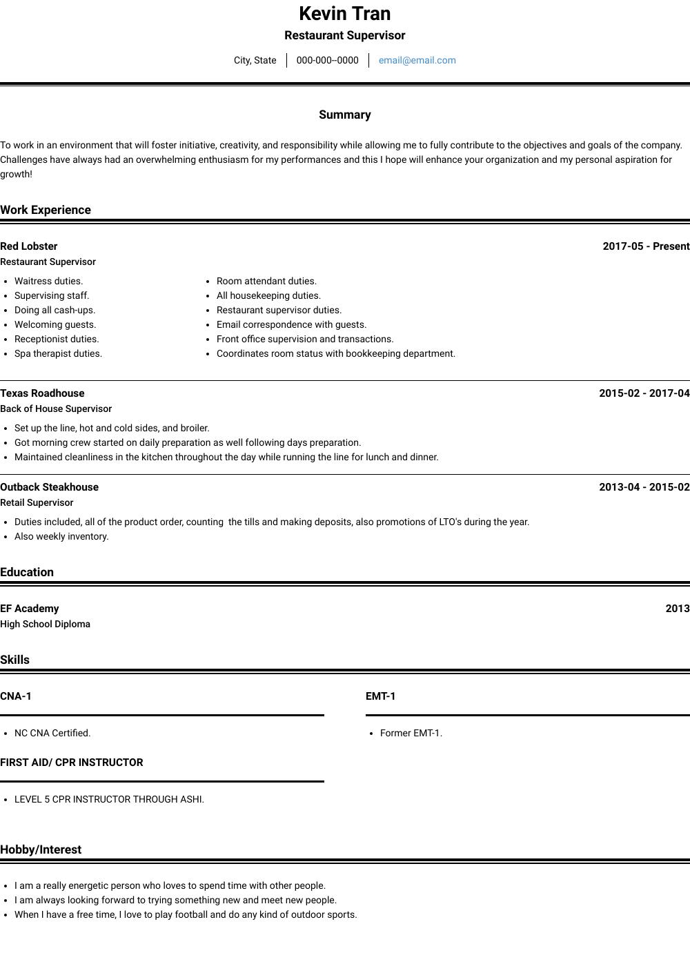 Restaurant Resume Samples Templates Visualcv
