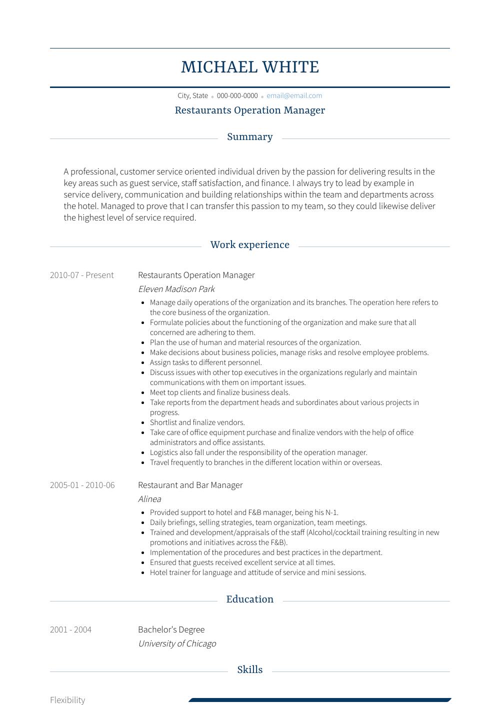 Restaurants Operation Manager Resume Sample and Template