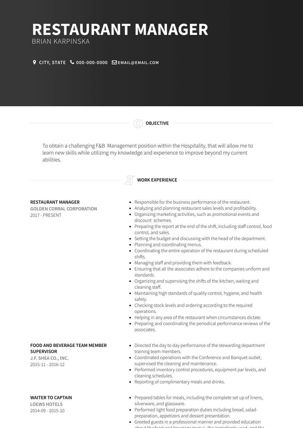 Restaurant Manager Resume Sample and Template