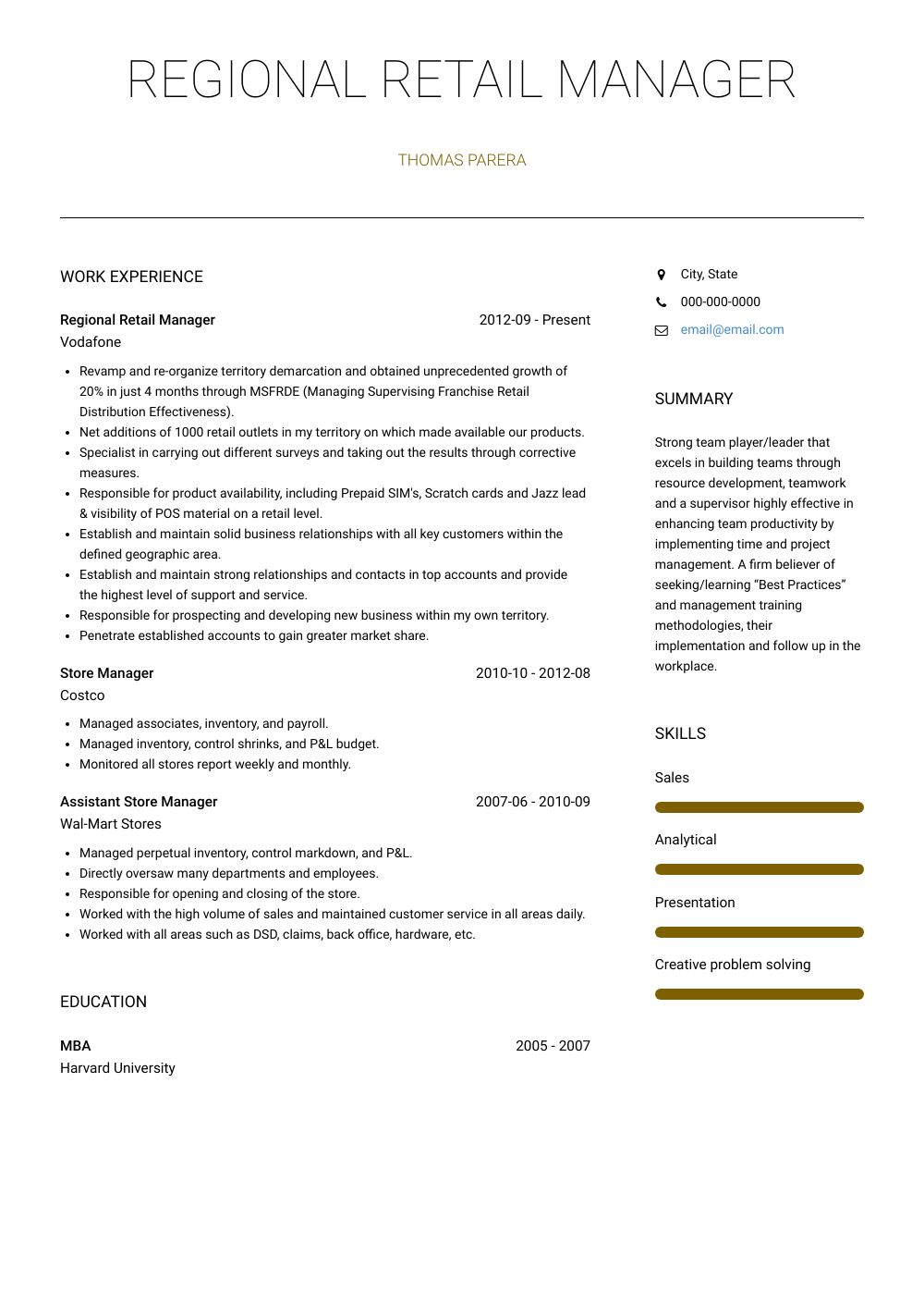 Regional Retail Manager Resume Sample and Template
