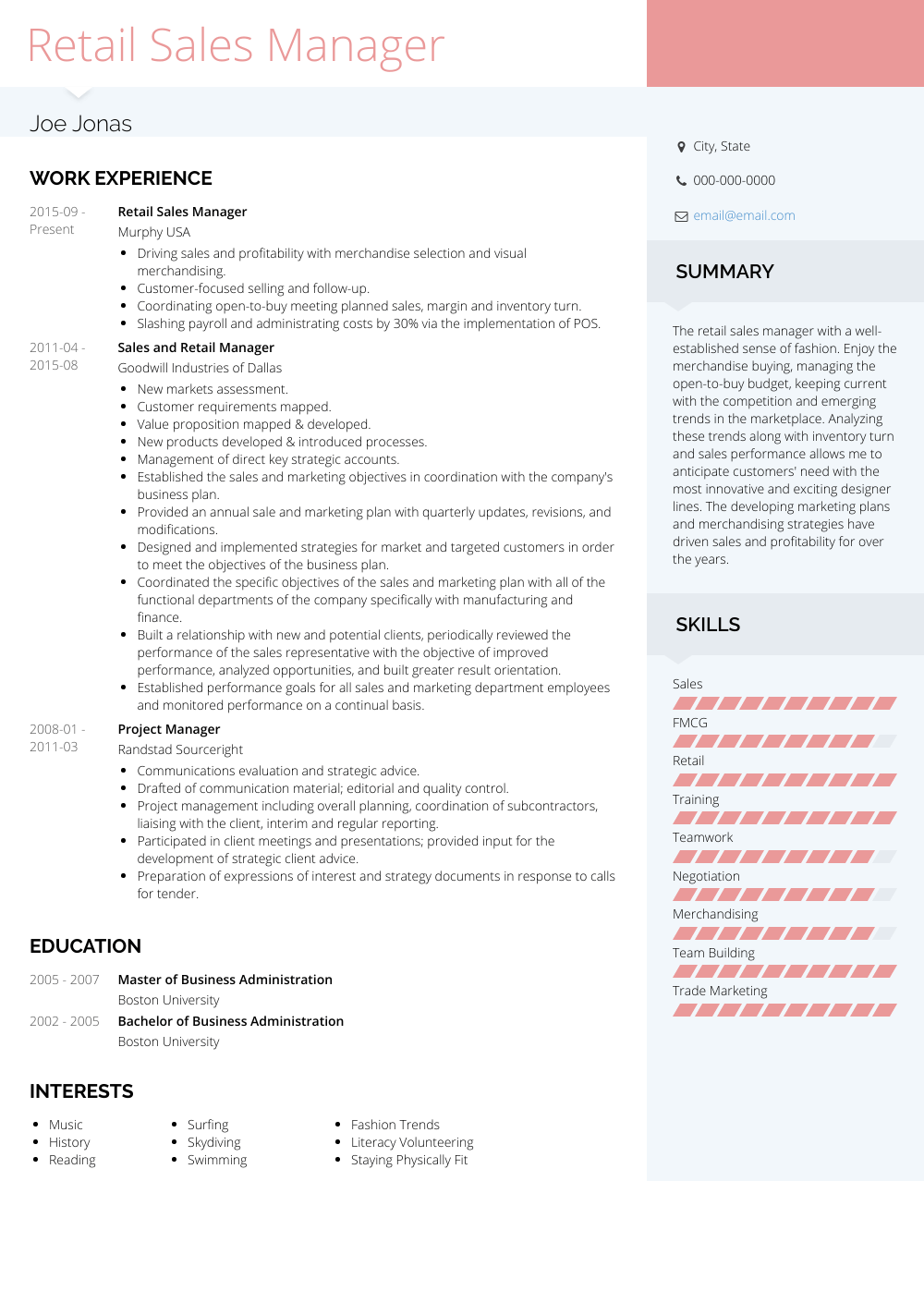 Retail Sales Manager Resume Sample and Template