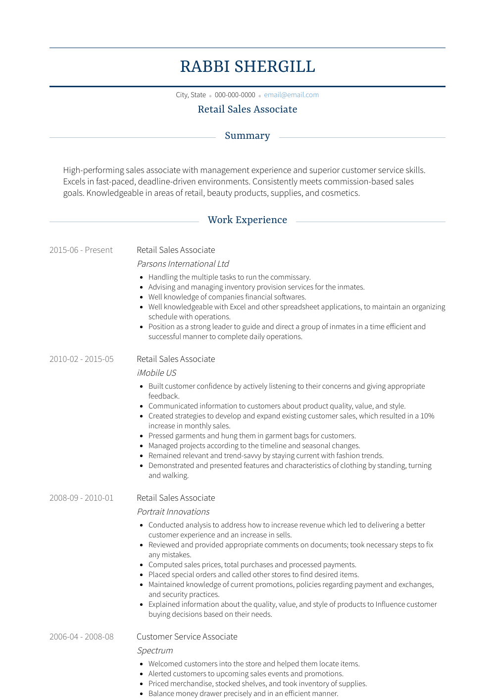 Retail Sales Associate Resume Sample and Template