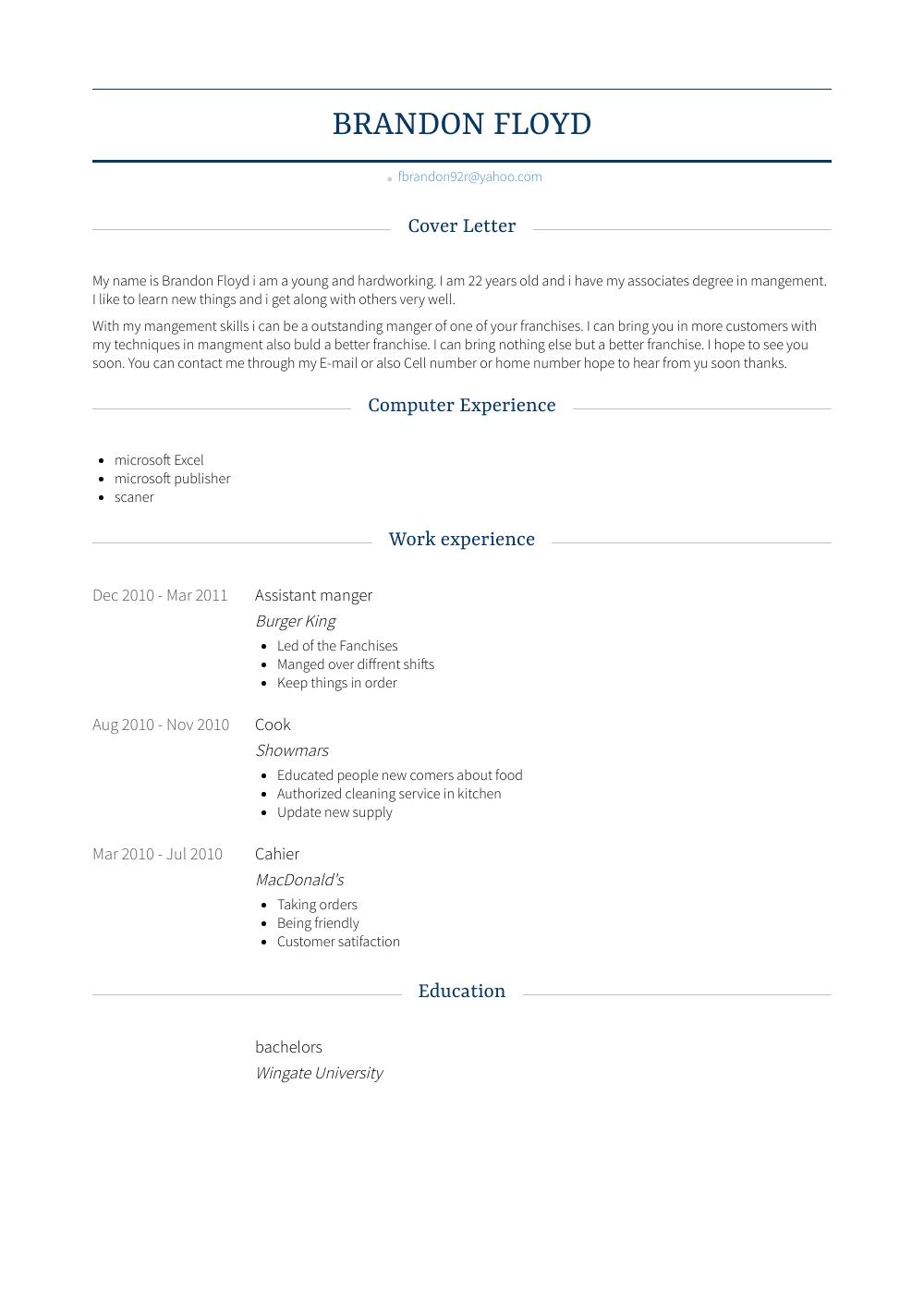 Assistant Manger Resume Sample