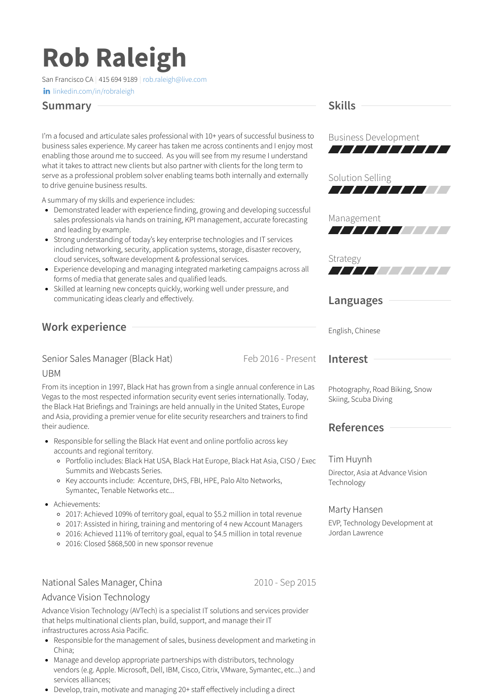 National Sales Manager Resume Samples Amp Templates Visualcv