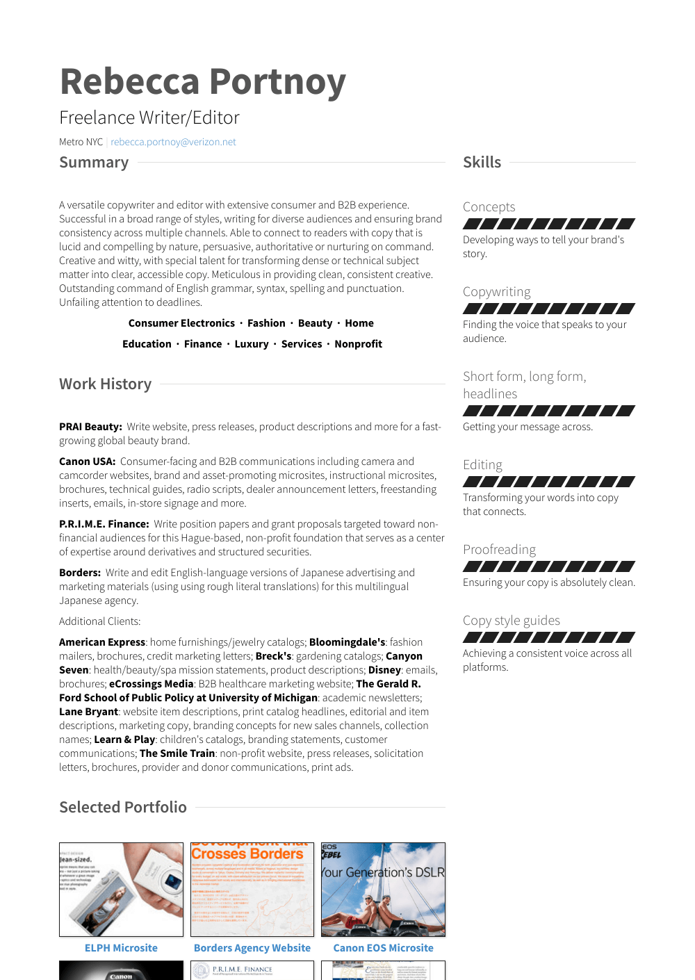 Writer/editor Resume Sample