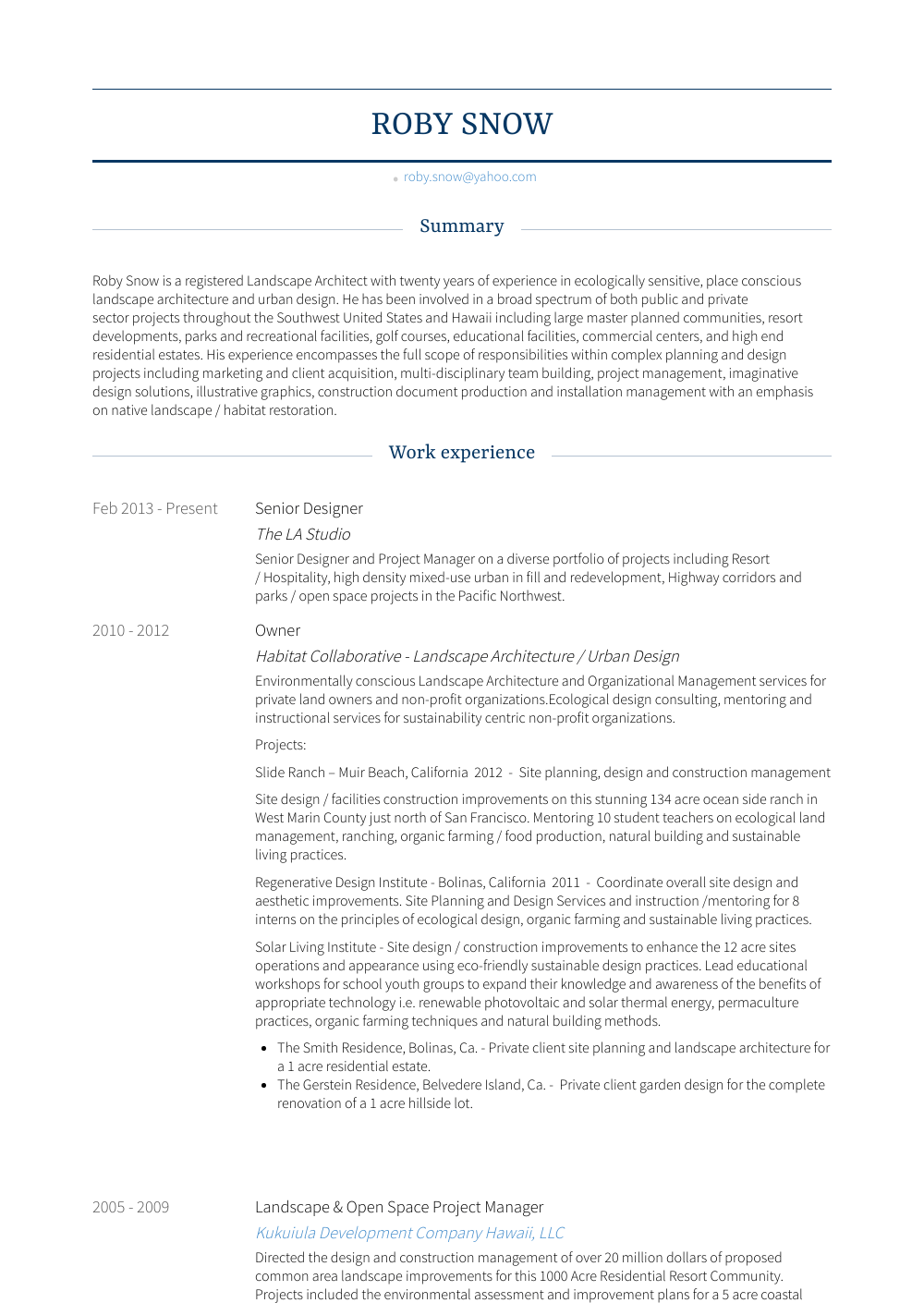 Senior Designer Resume Sample