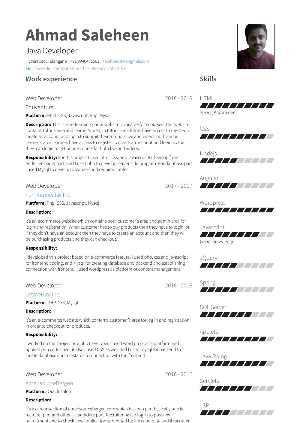 sample java developer resume