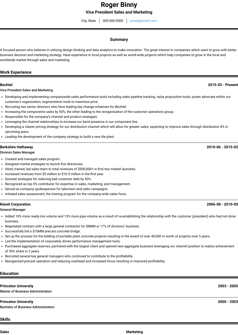 Vice President Sales And Marketing Resume Sample and Template