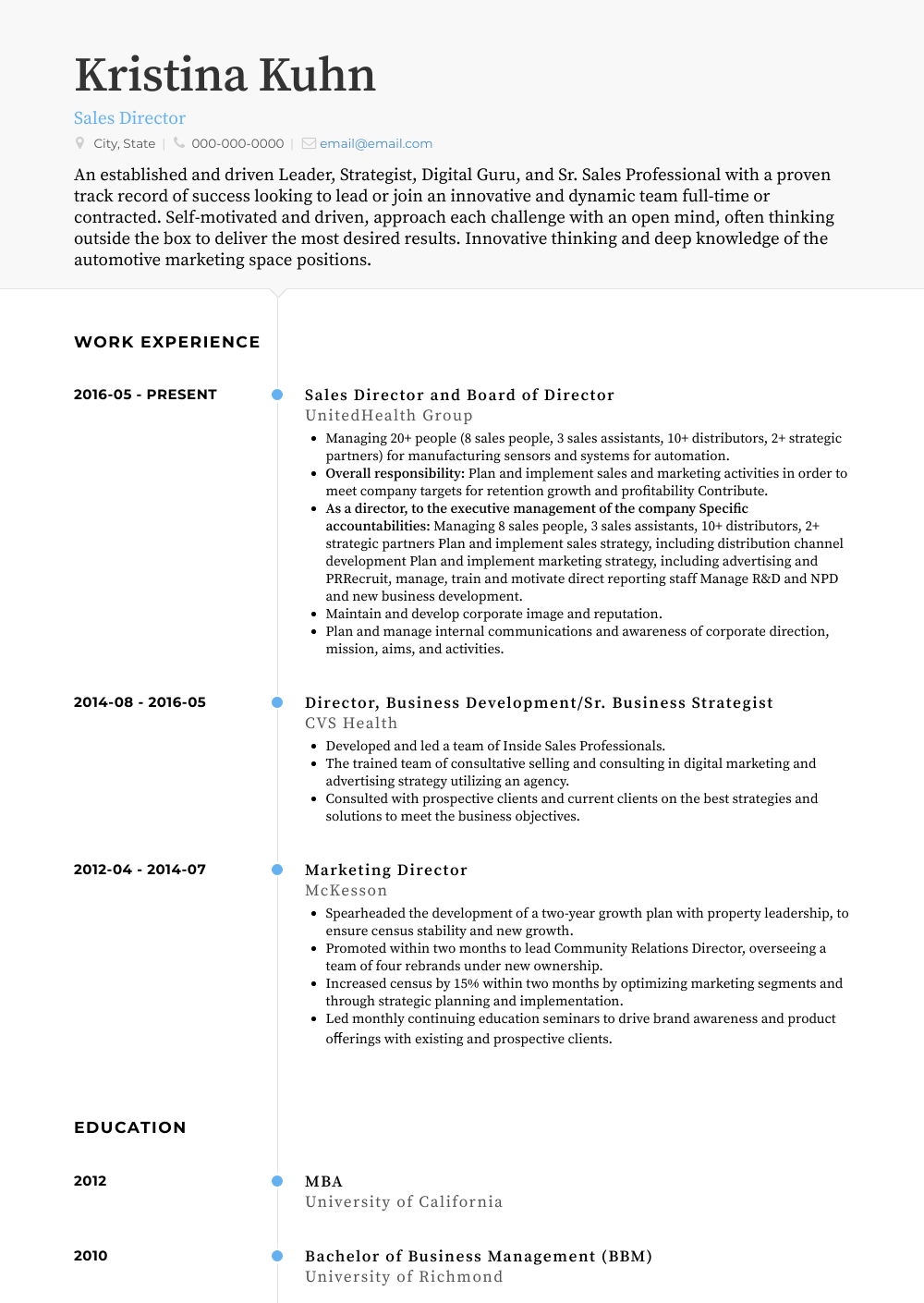 Sales Director Resume Sample