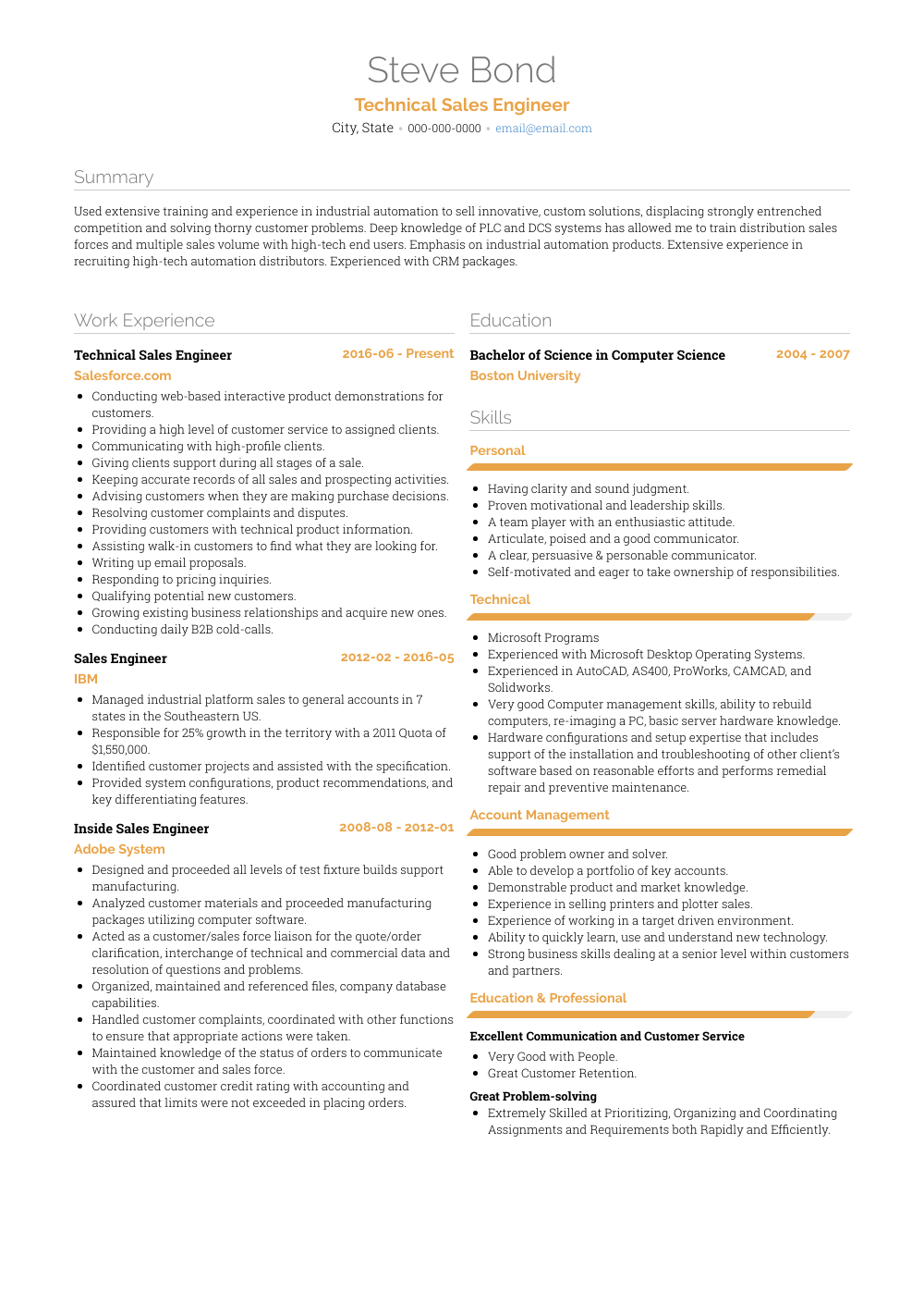 Technical Sales Engineer Resume Sample and Template