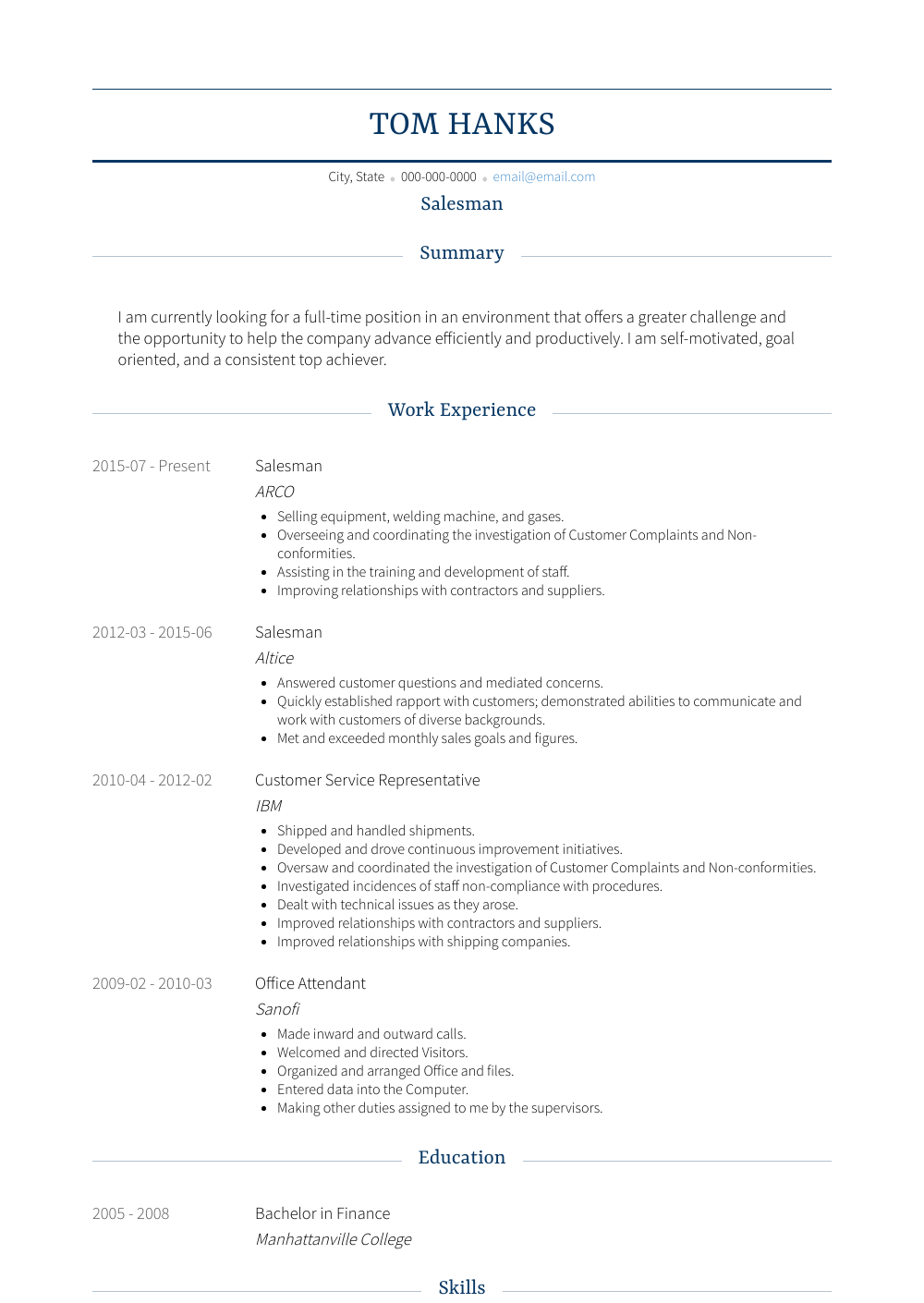 Sales Person Resume Sample