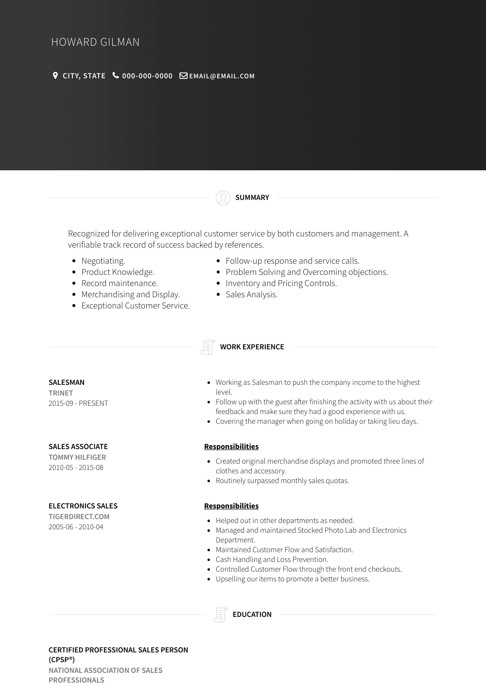 Salesman Resume Sample