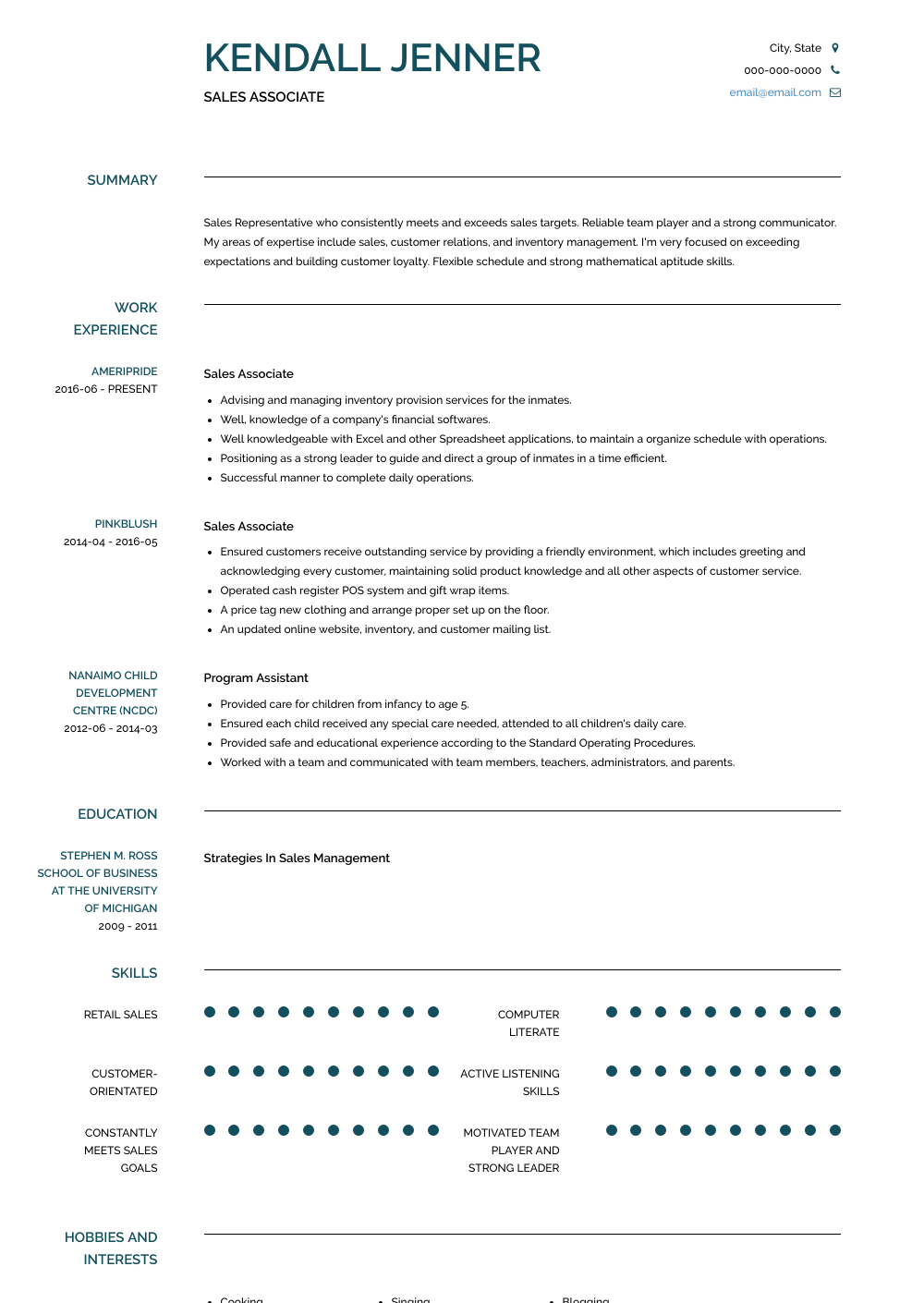 Sales Associate Resume Sample and Template