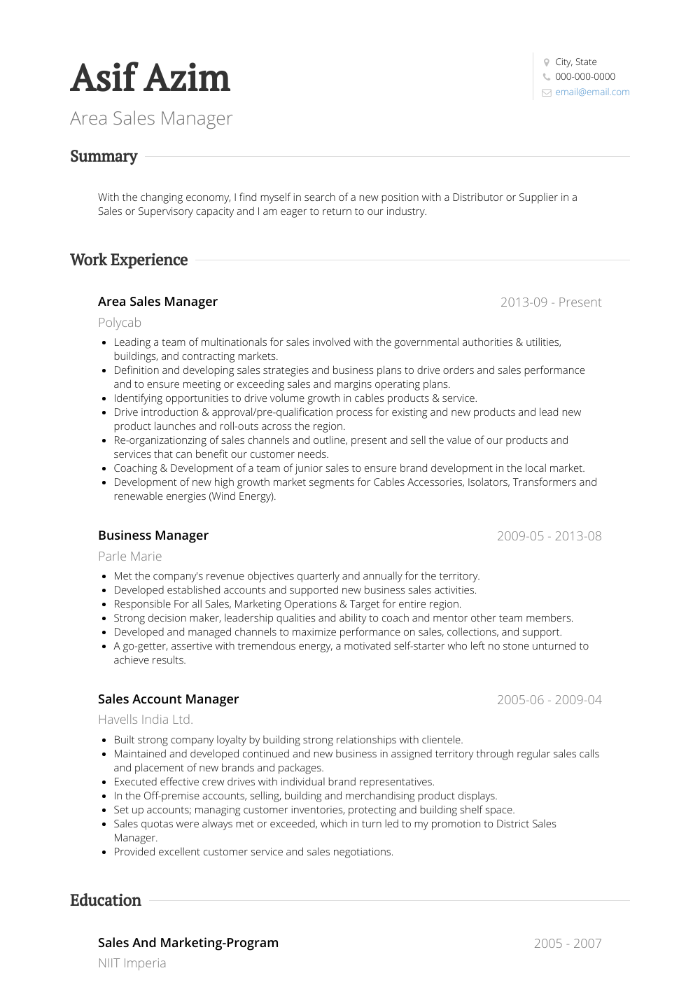 Area Sales Manager Resume Sample and Template