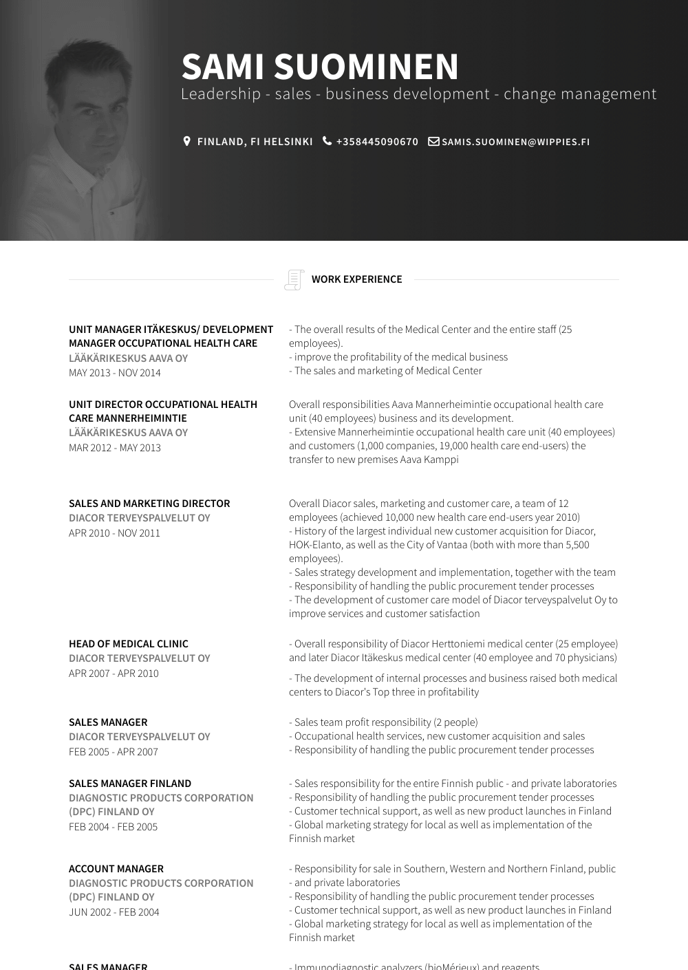 Unit Manager Resume Sample