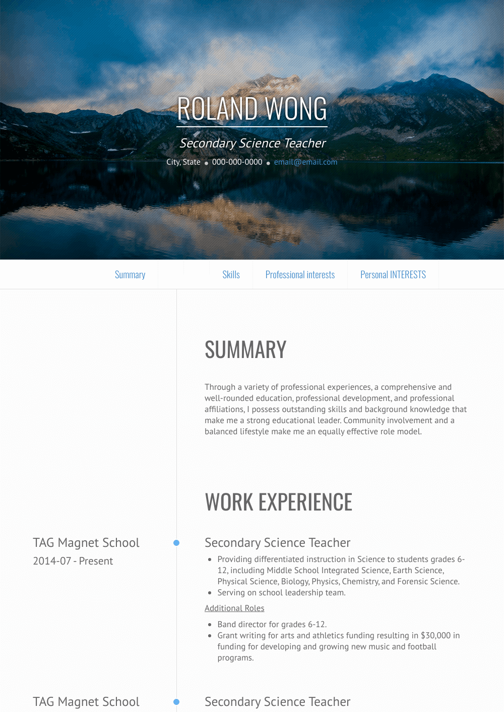 Science Teacher - Resume Samples and Templates | VisualCV