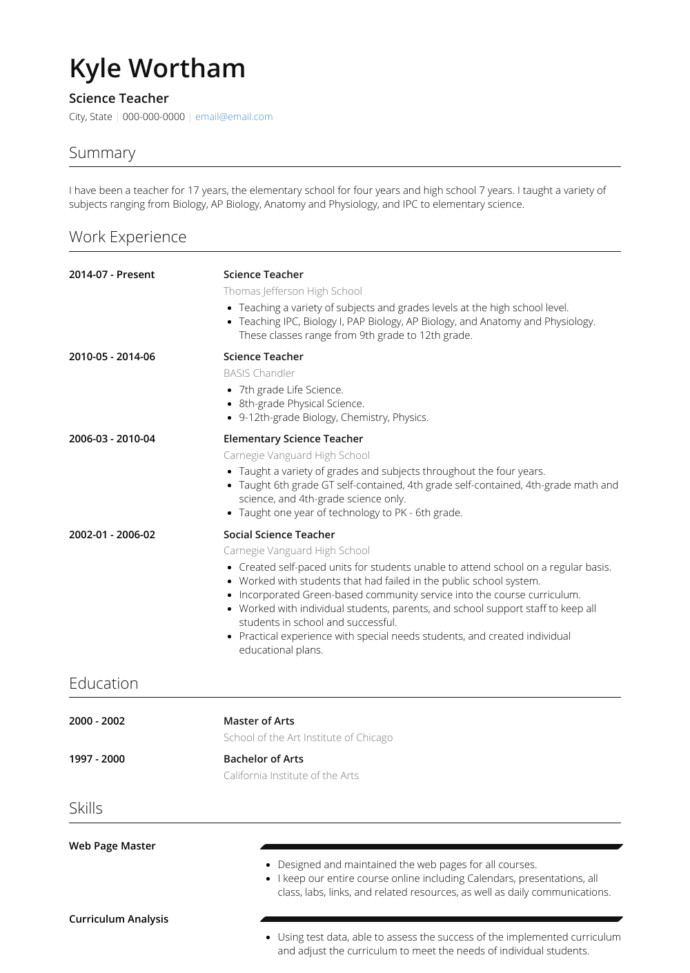 Science Teacher Resume Sample and Template