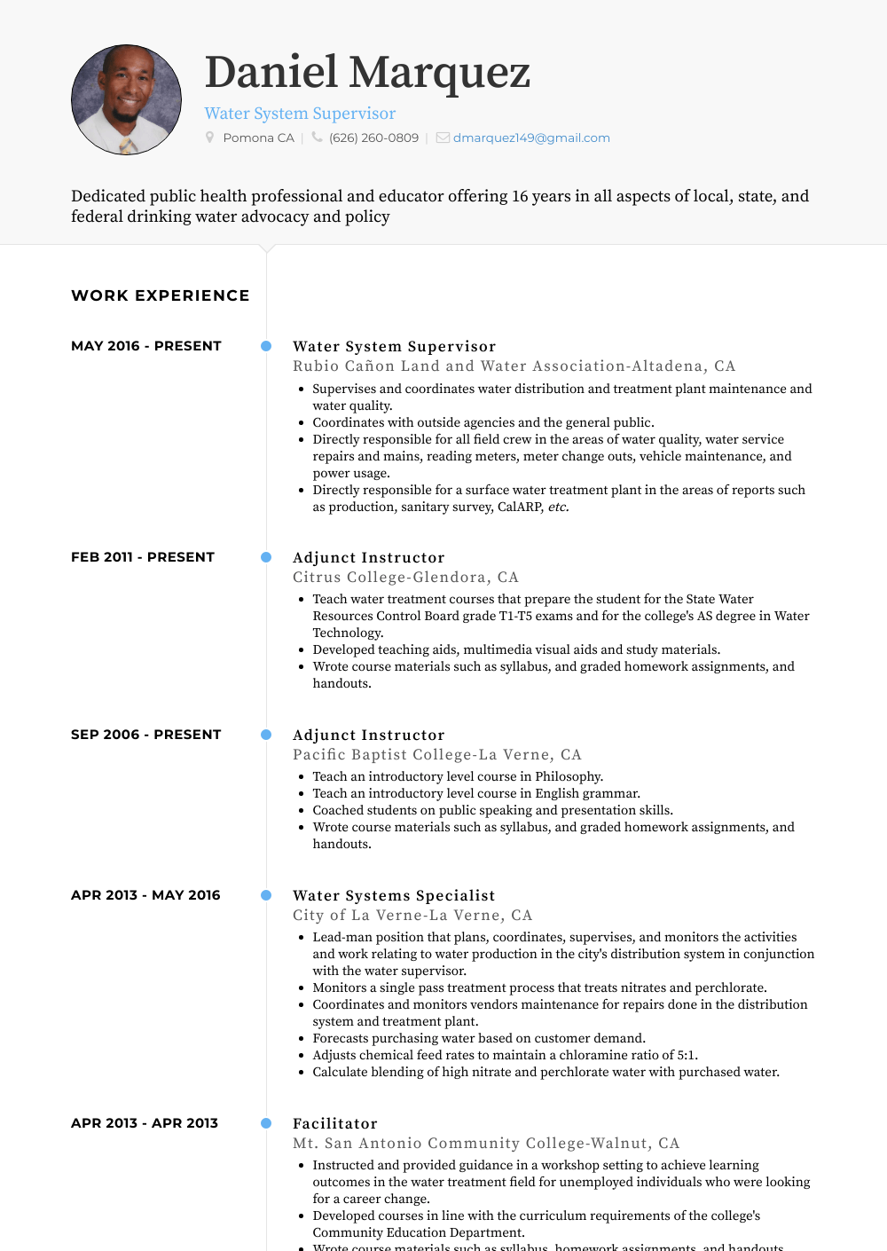 Adjunct Instructor Resume Sample