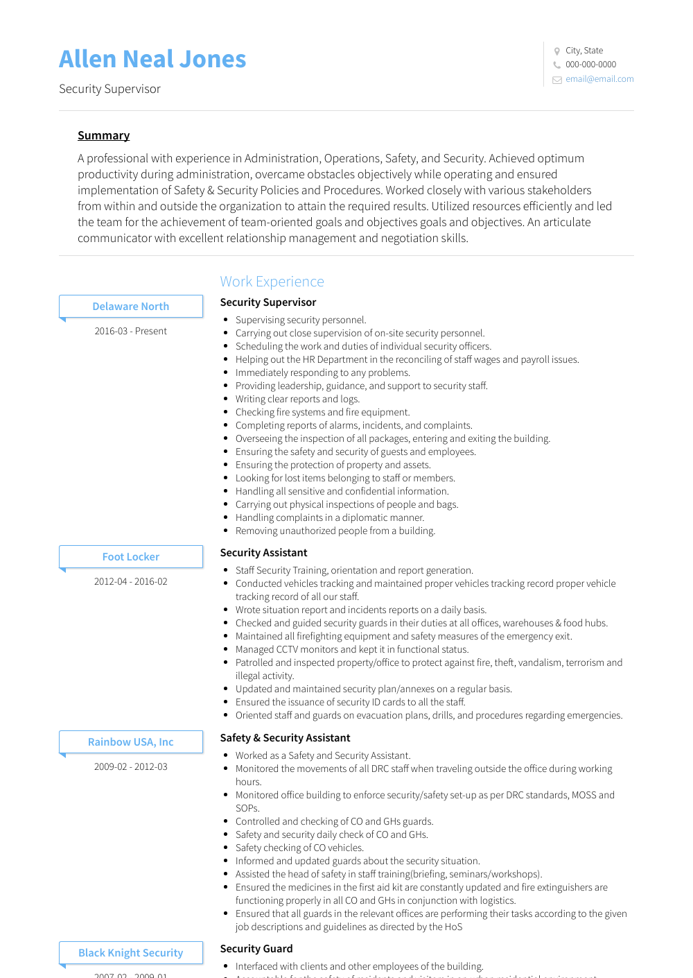 security guard  resume samples and templates  visualcv