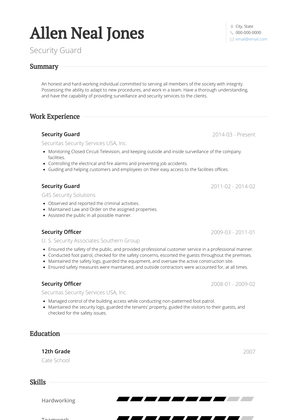 Security Guard - Resume Samples and Templates | VisualCV