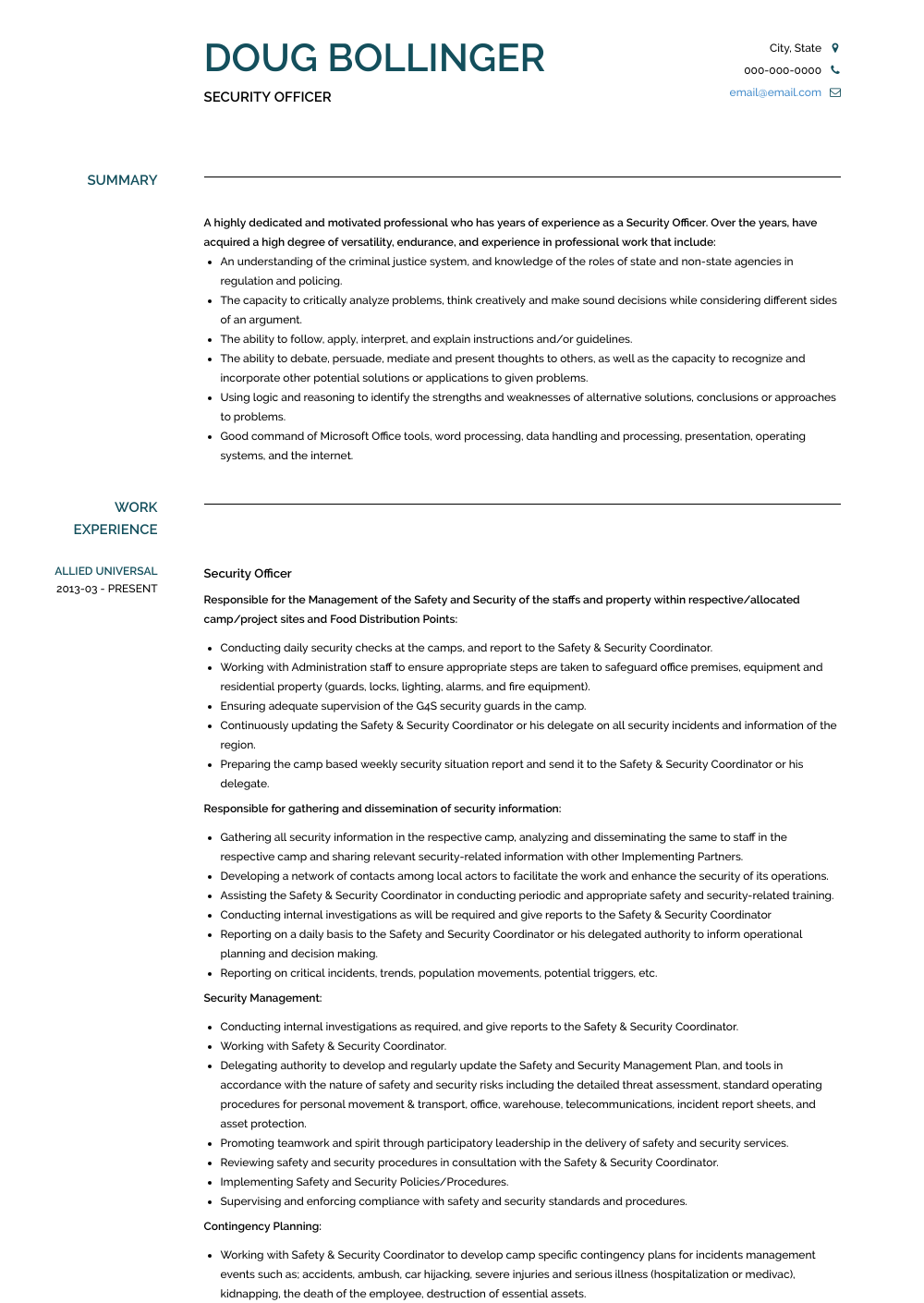 Security Officer Resume Samples Templates Visualcv