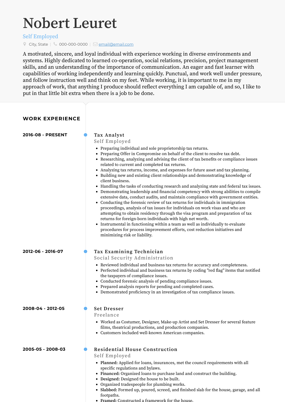Self Employed Tax Analyst Resume Sample and Template